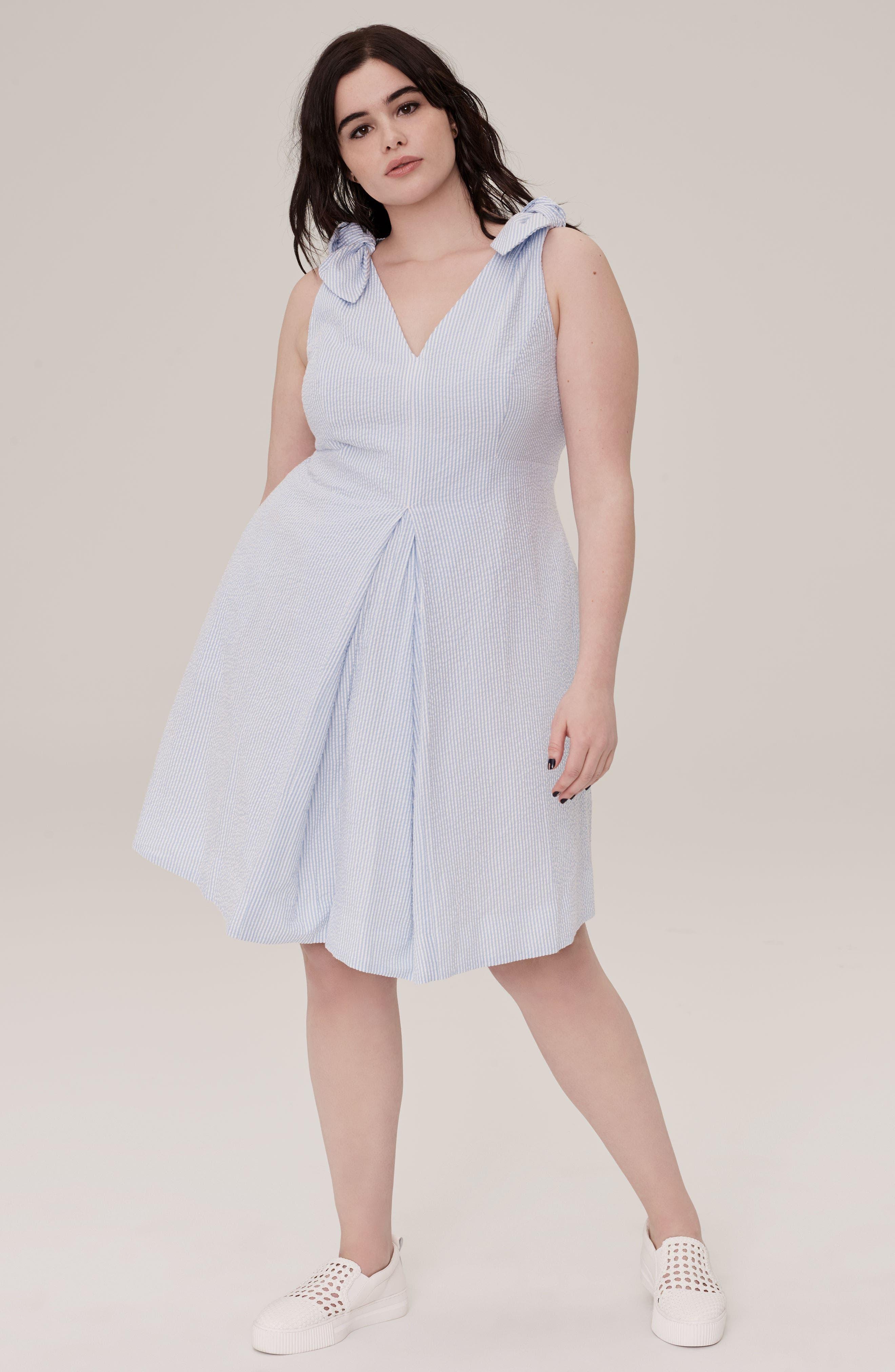 Bow Shoulder Seersucker Dress,                             Alternate thumbnail 8, color,                             420