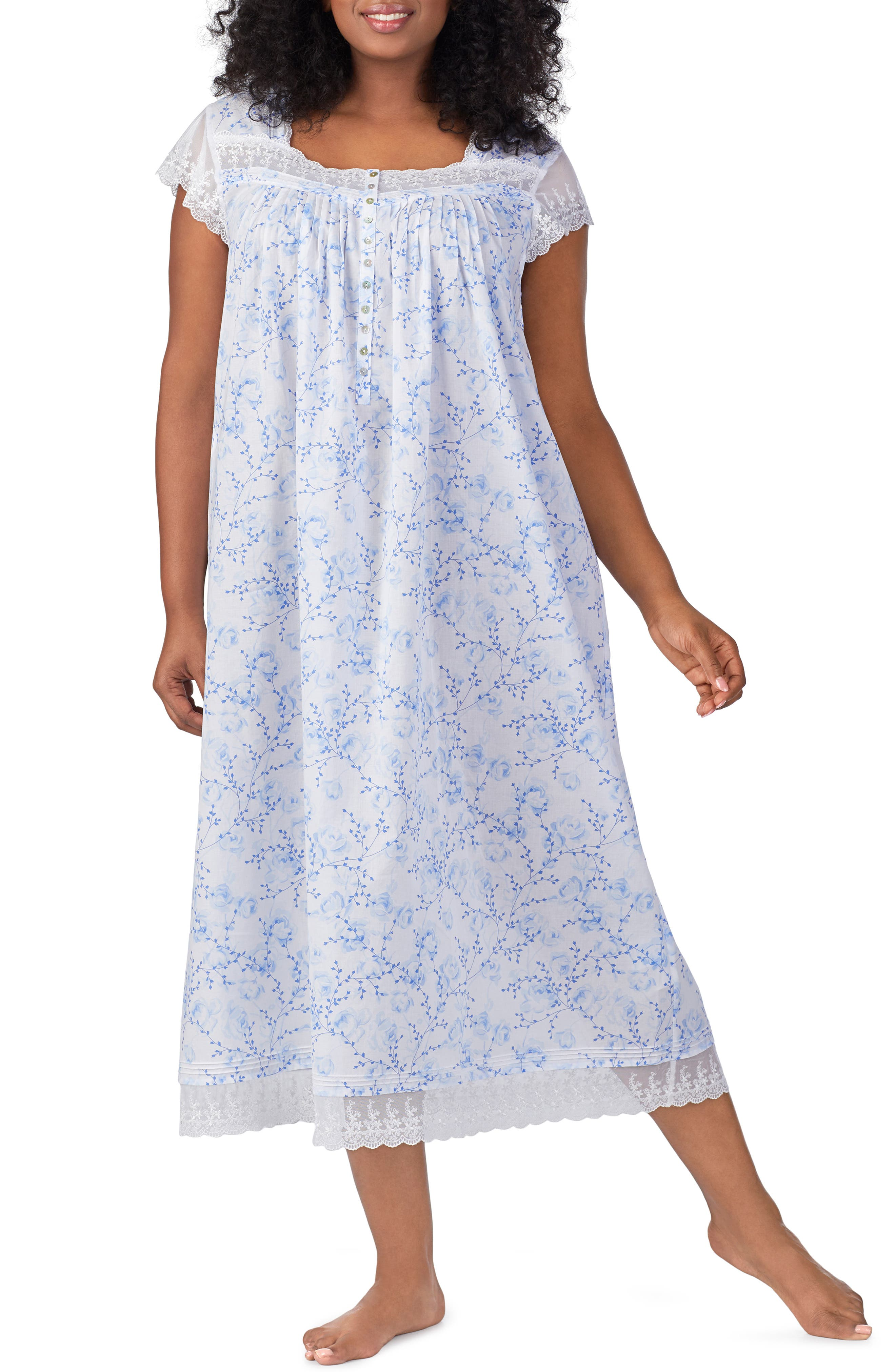 Cotton Lawn Nightgown,                             Main thumbnail 1, color,                             BLUE FLORAL