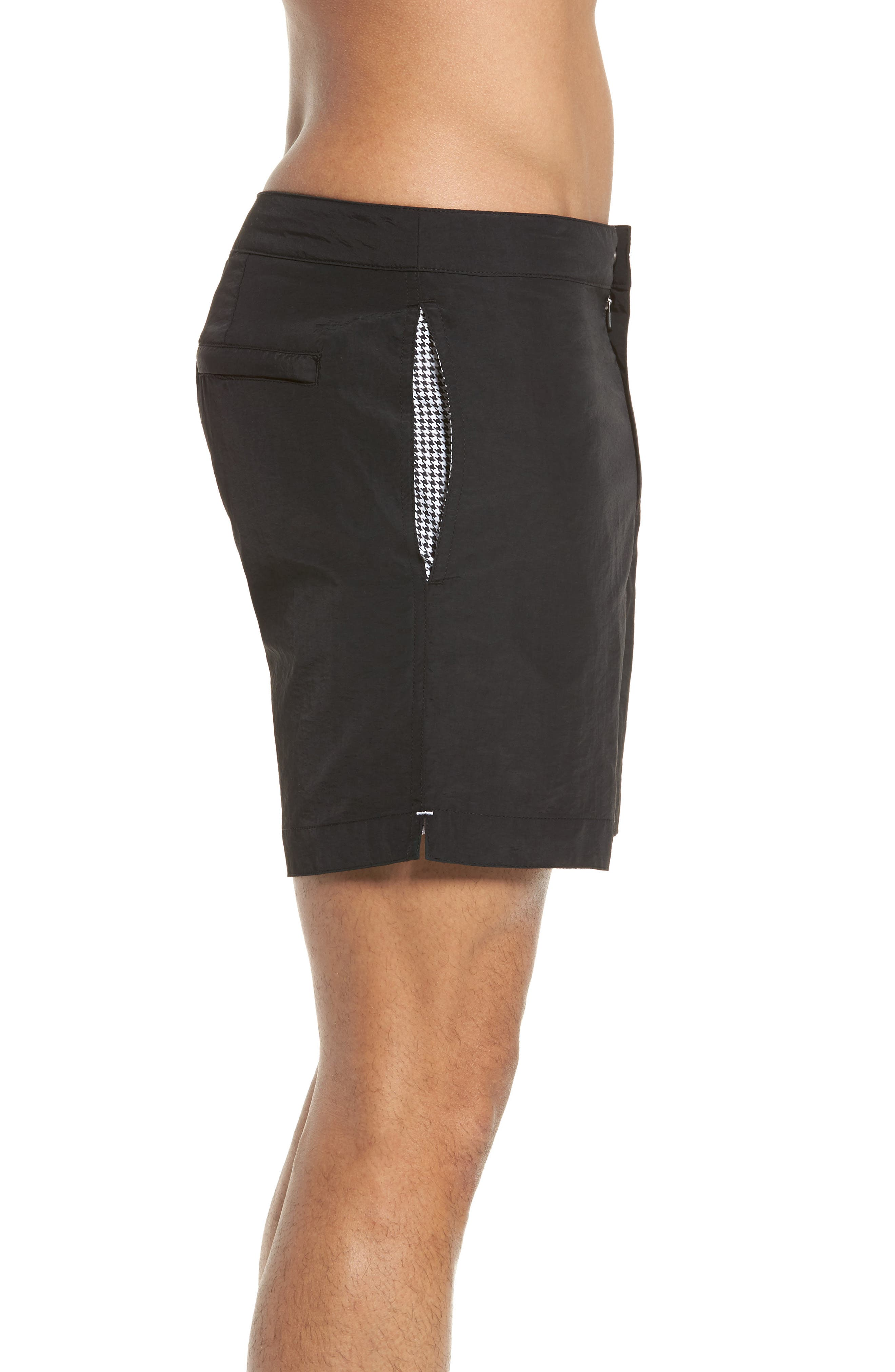 'Aruba' Tailored Fit Swim Trunks,                             Alternate thumbnail 3, color,                             MIDNIGHT BLACK SOLID
