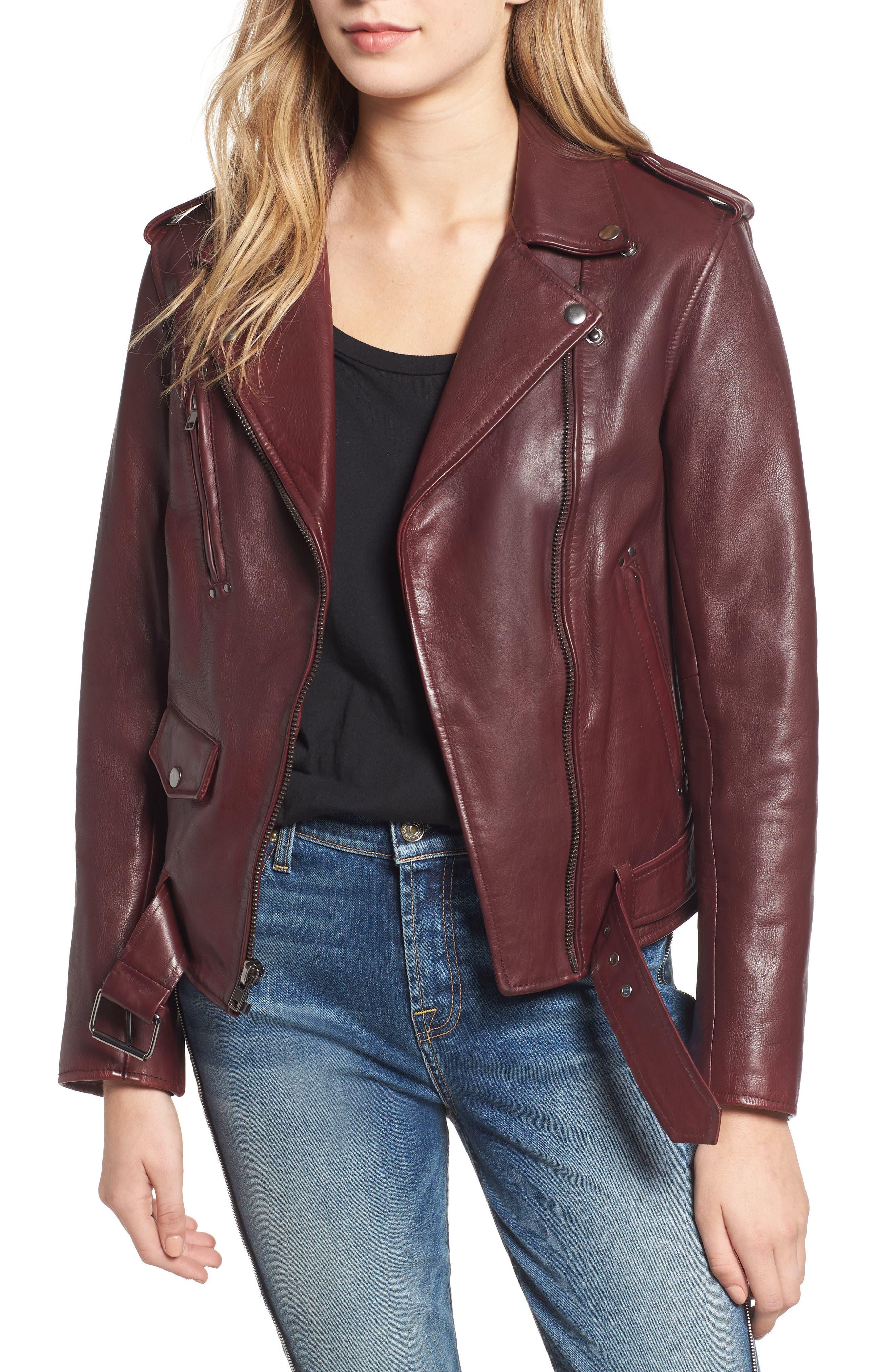Leather Biker Jacket,                         Main,                         color, BLACKENED BORDEAUX