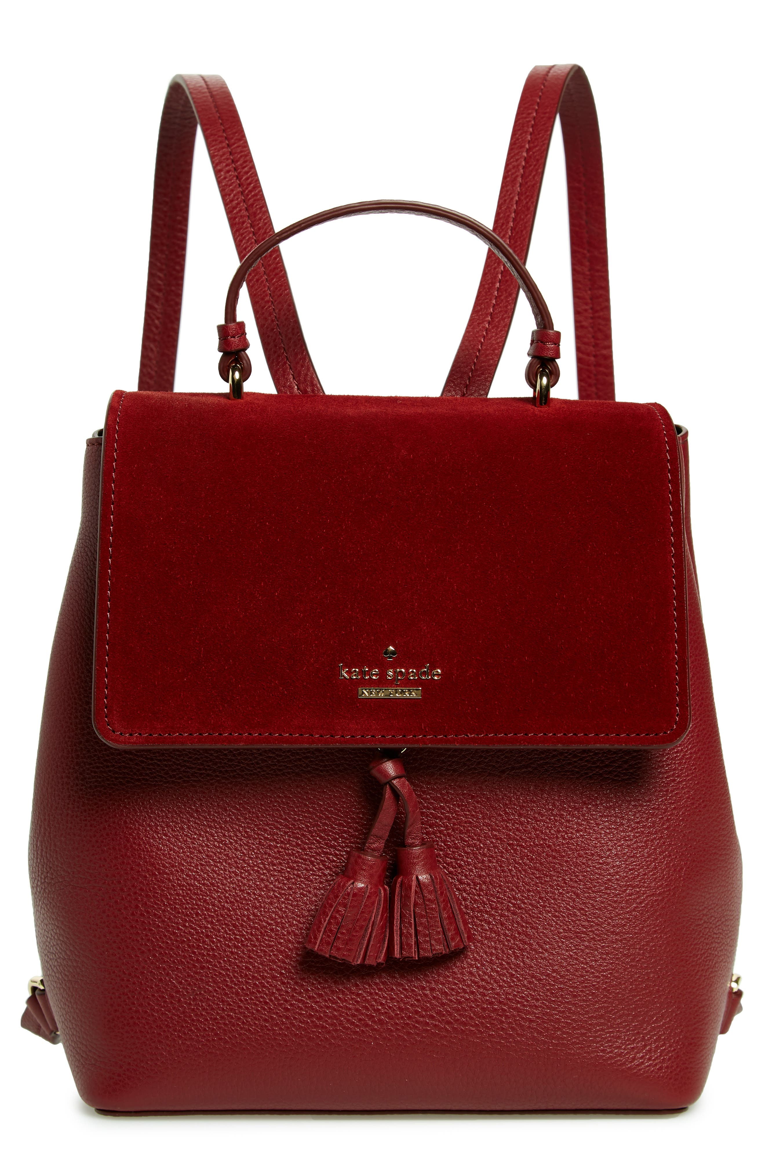 KATE SPADE NEW YORK hayes street - teba leather & suede backpack, Main, color, 600