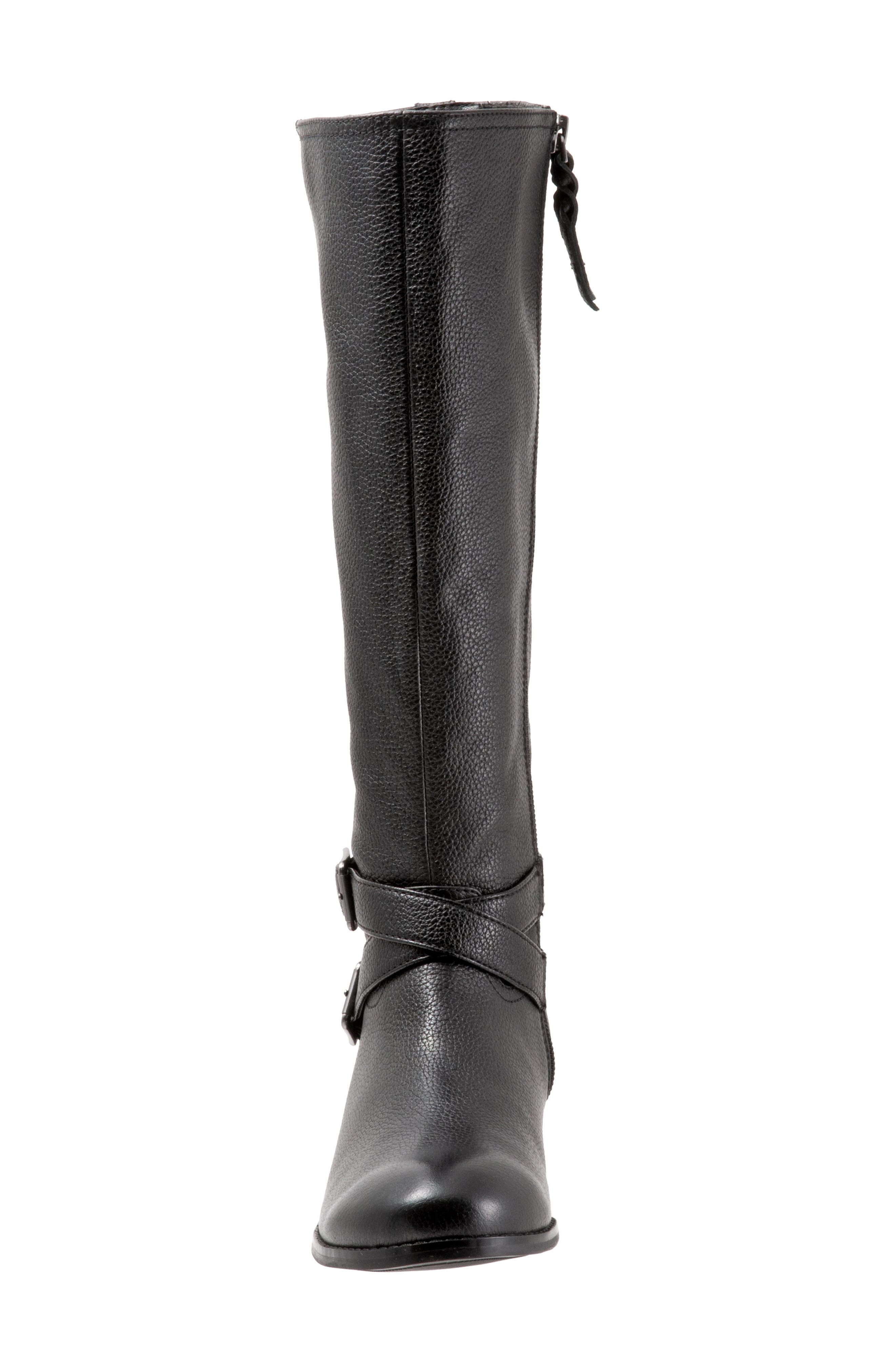 Liberty Tall Boot,                             Alternate thumbnail 4, color,                             BLACK LEATHER