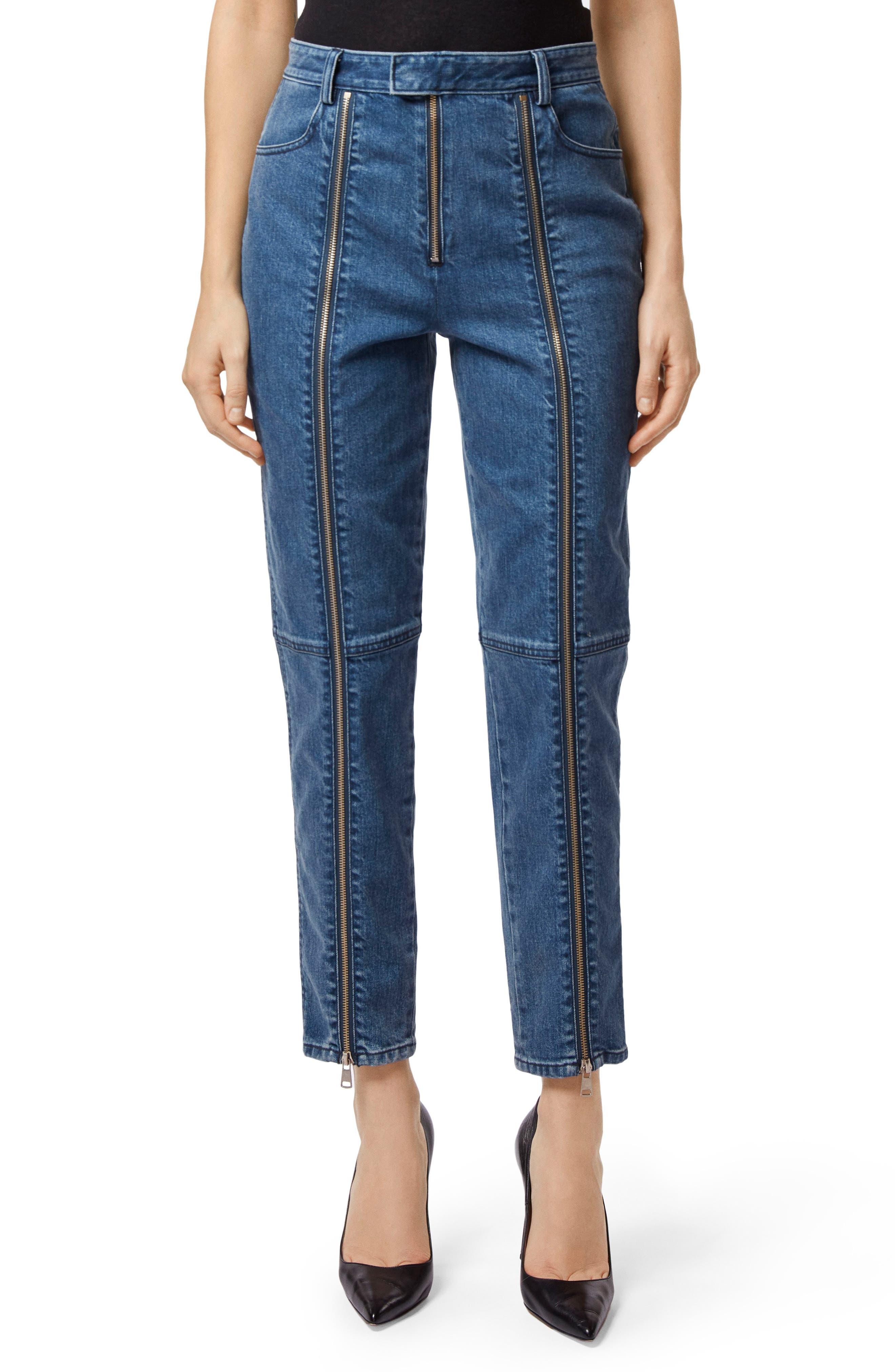 Connie High Waist Zip Ankle Straight Leg Jeans,                             Main thumbnail 1, color,                             STUN