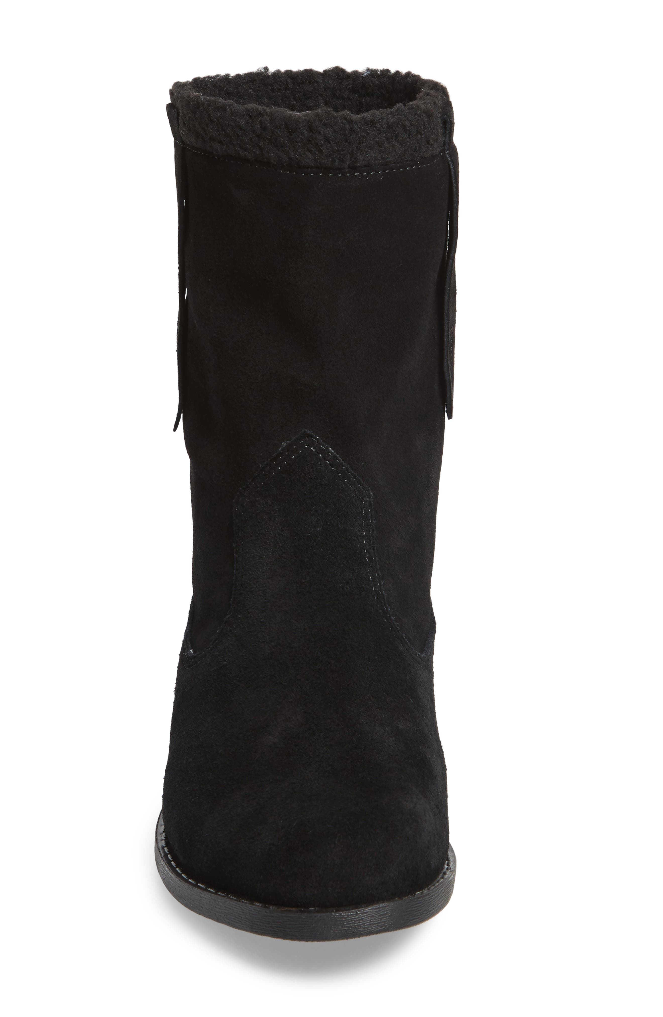 Verona Faux Shearling Boot,                             Alternate thumbnail 4, color,                             BLACK/ BLACK SUEDE