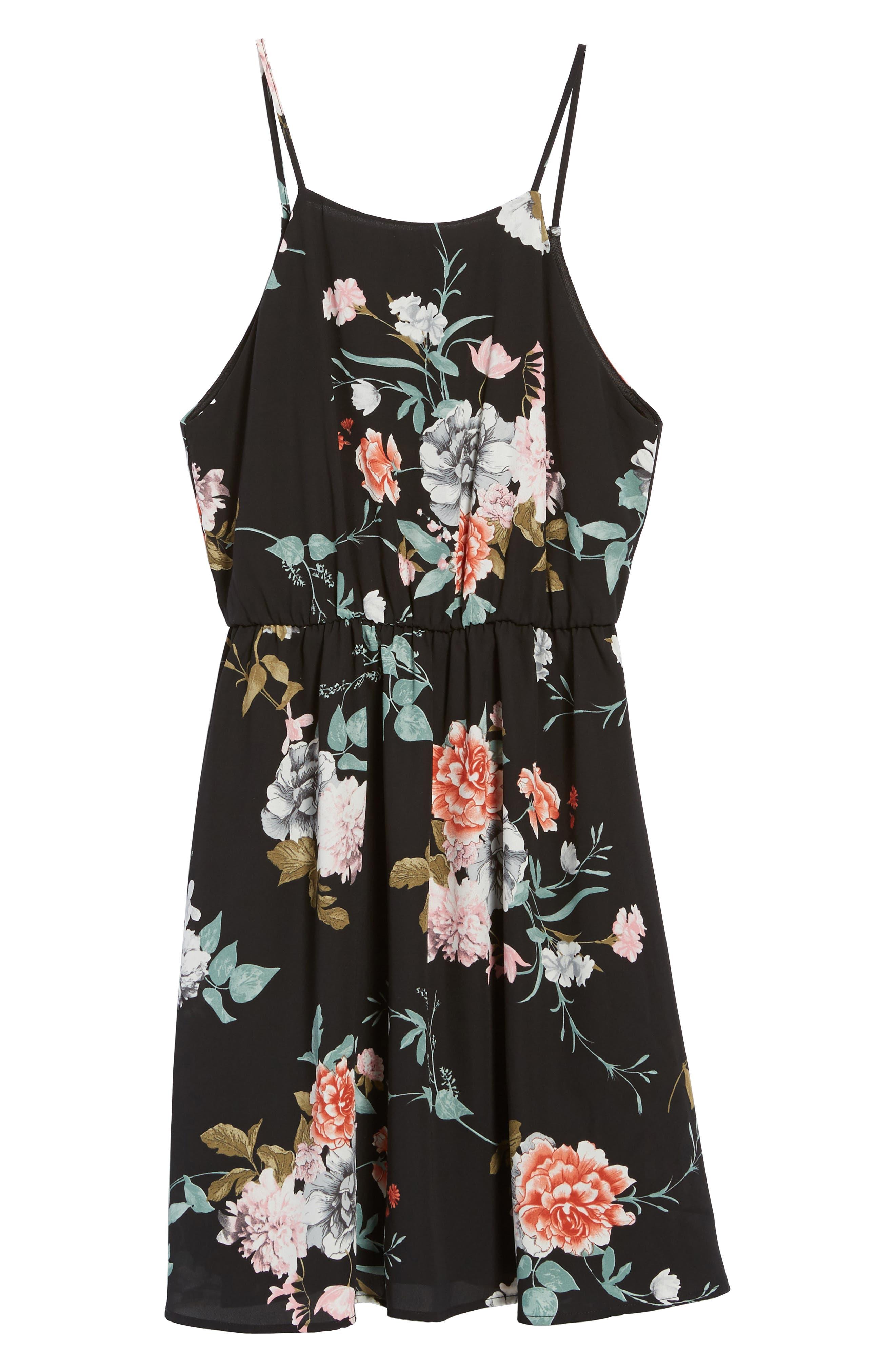 Back Tie Blouson Dress,                             Alternate thumbnail 6, color,                             001