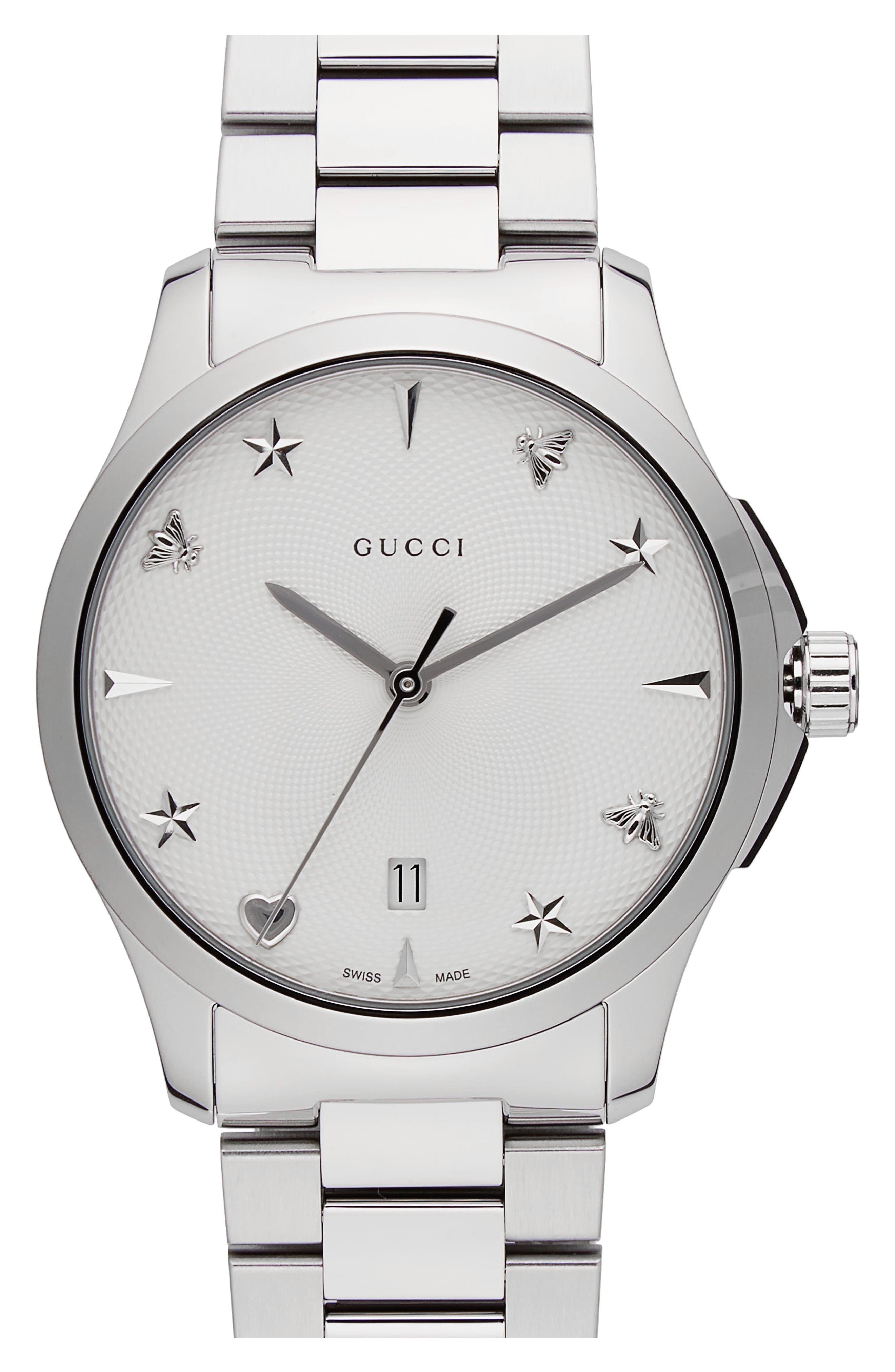 G-Timeless Bracelet Watch, 38mm,                             Main thumbnail 1, color,                             SILVER