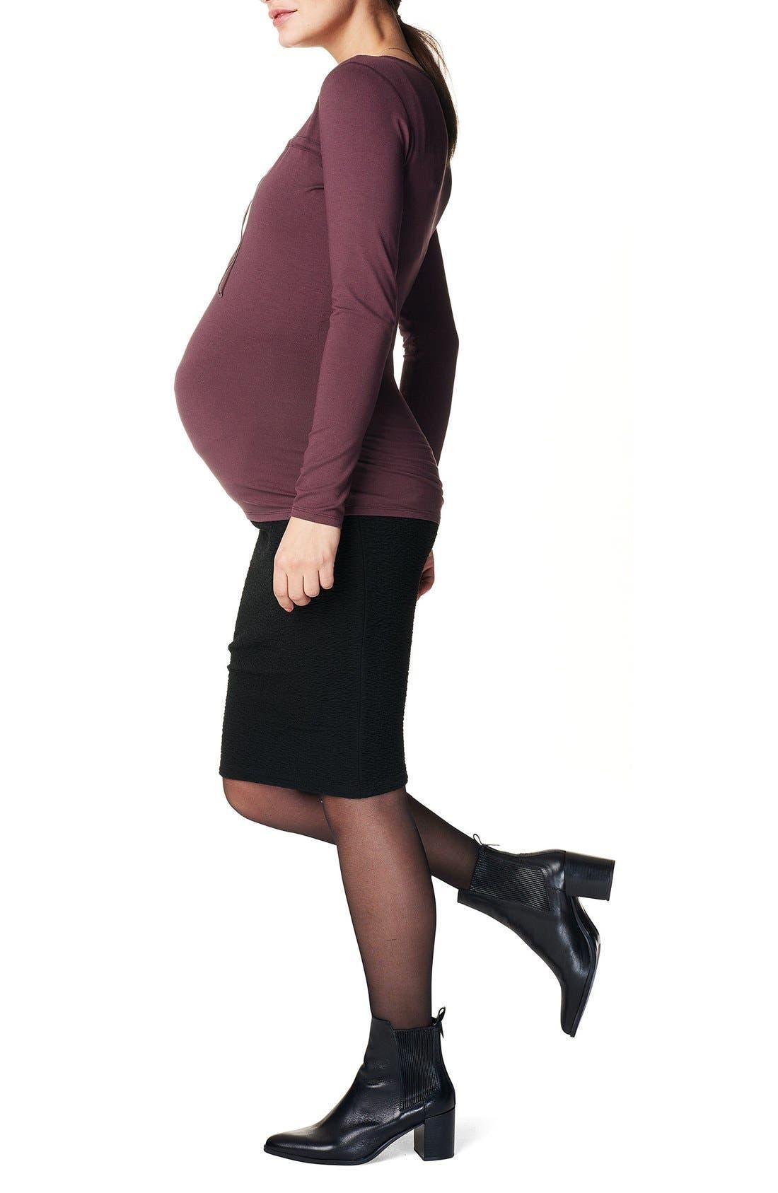 'Eli' Over the Belly Maternity Skirt,                             Alternate thumbnail 3, color,                             BLACK