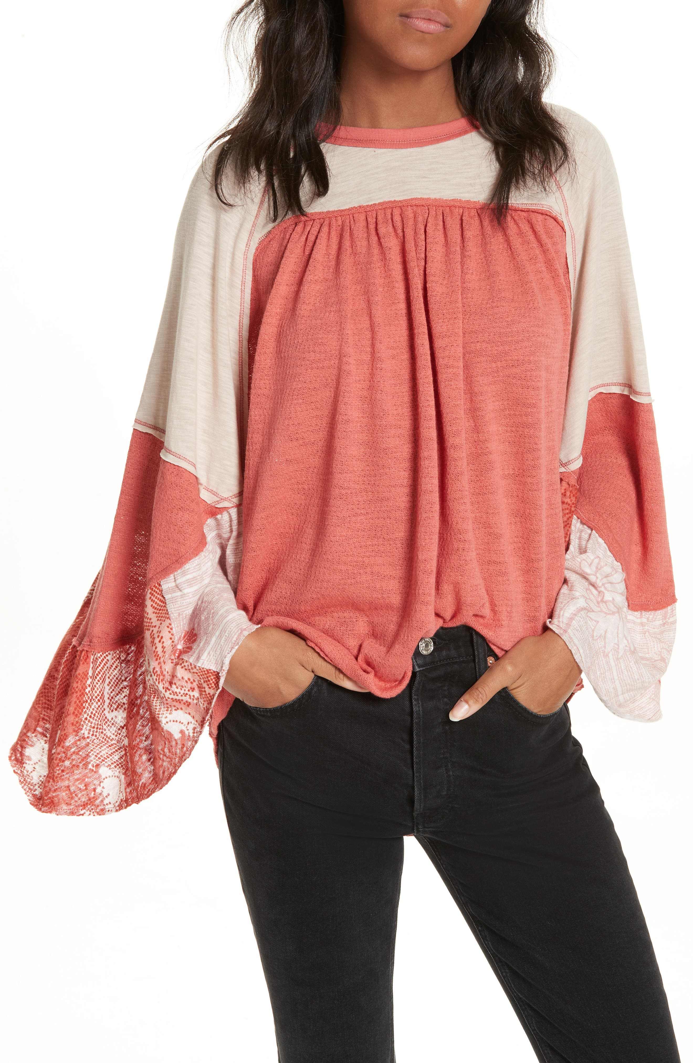 We The Free By Free People Friday Fever Pattern Mix Top, Coral