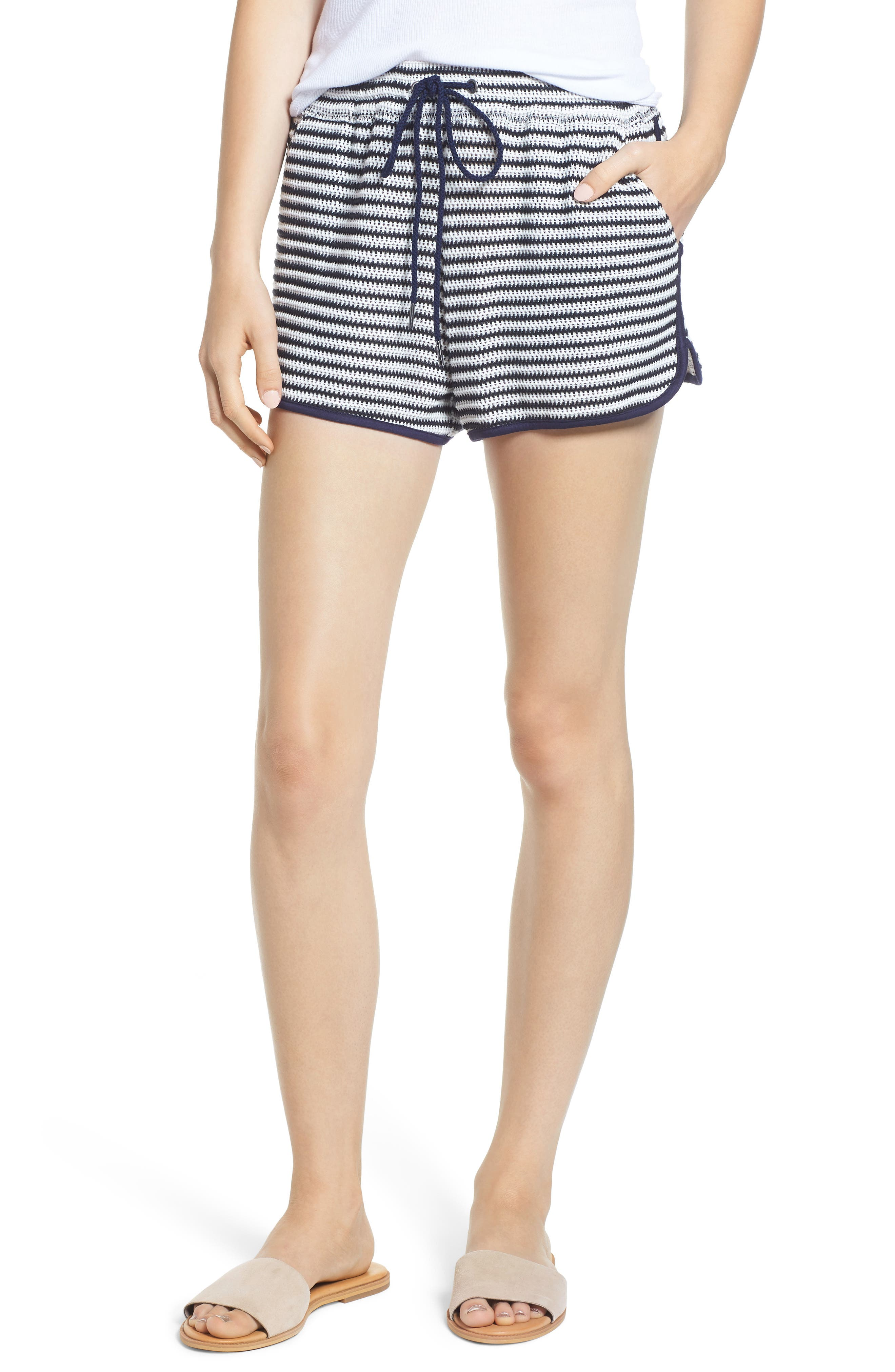 Stripe Shorts,                             Main thumbnail 1, color,                             NAVY/ WHITE