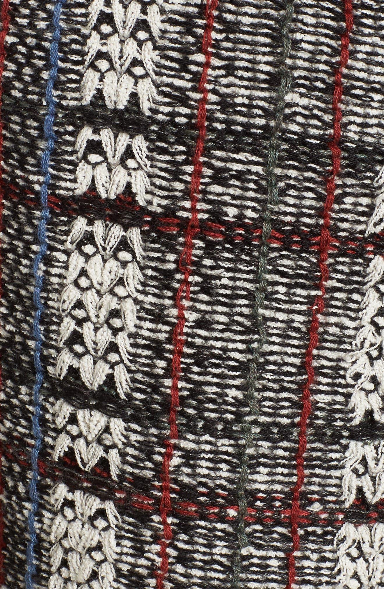 Plaid Tweed Fringe Jacket,                             Alternate thumbnail 6, color,                             090