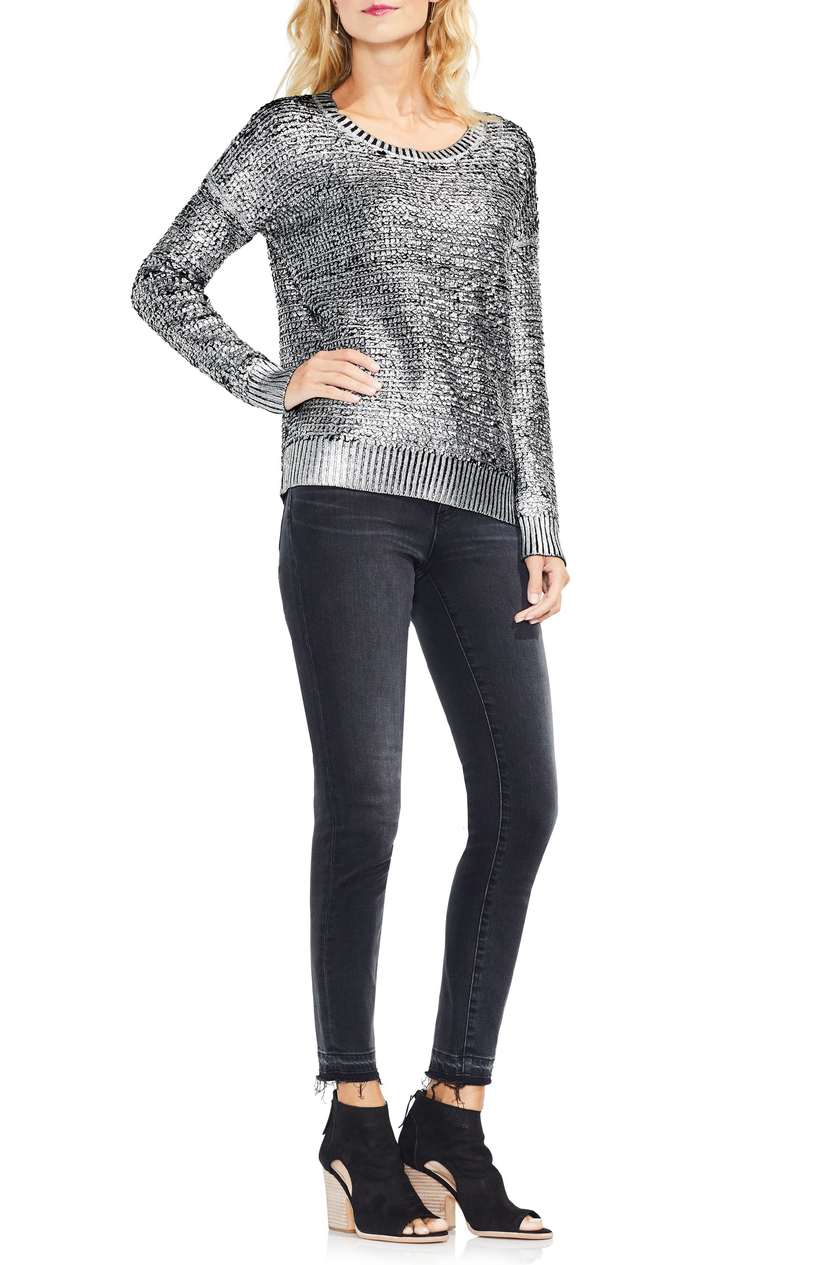 Loop Stitch Foil Print Sweater,                             Alternate thumbnail 3, color,                             006
