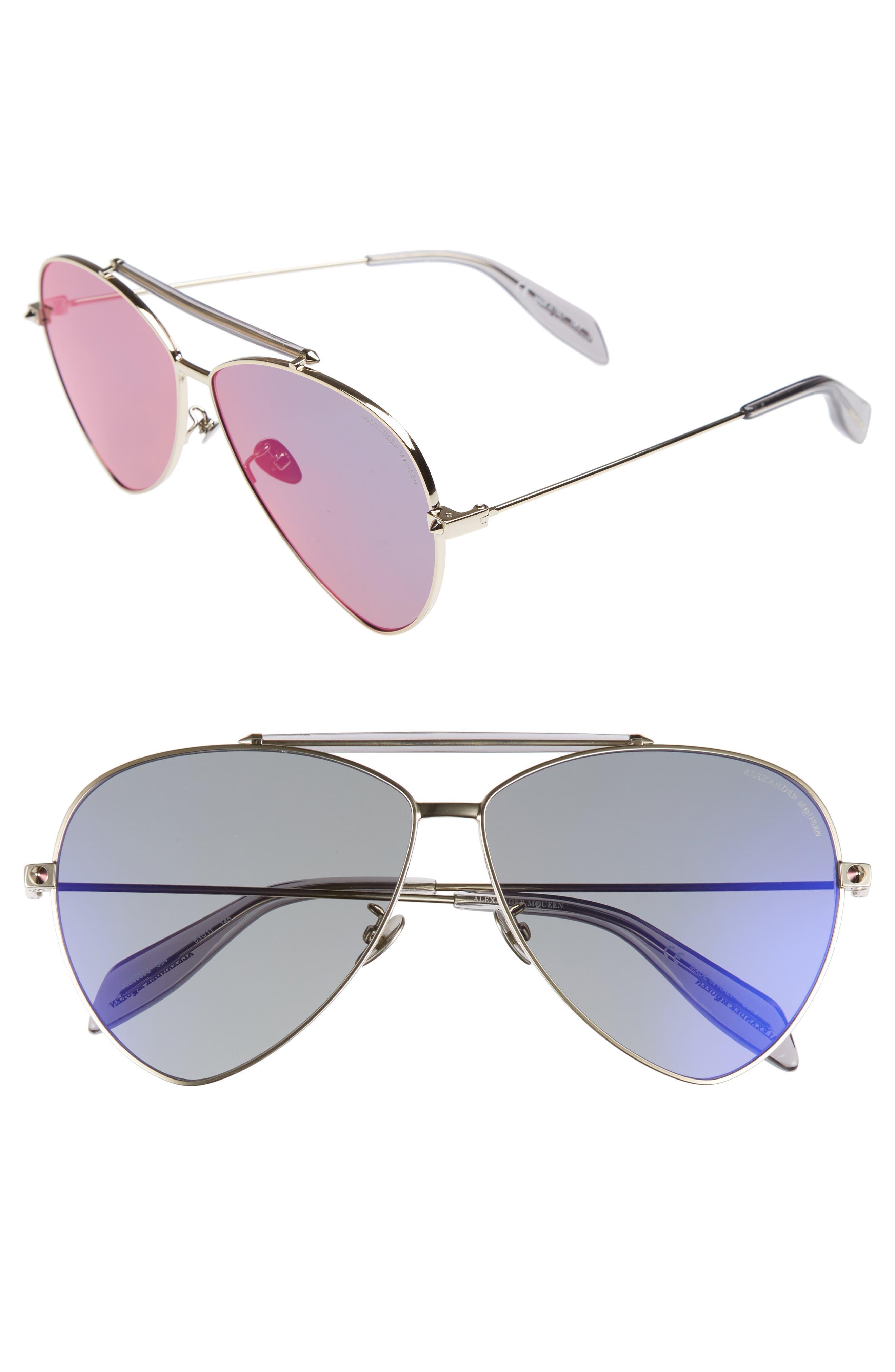 63mm Oversize Aviator Sunglasses,                             Main thumbnail 2, color,