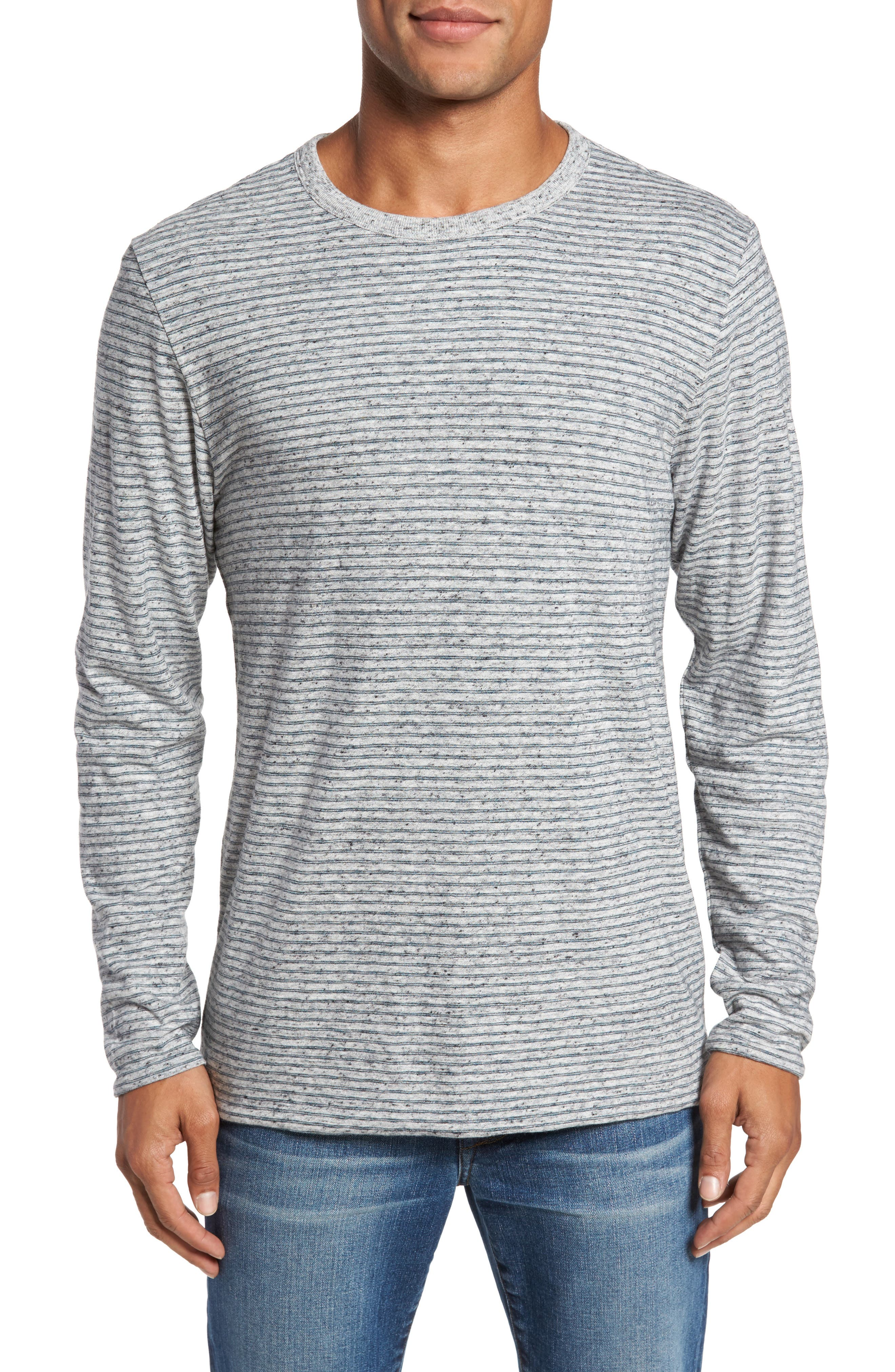 Heathered Reversible Long Sleeve Crewneck T-Shirt,                         Main,                         color, 032