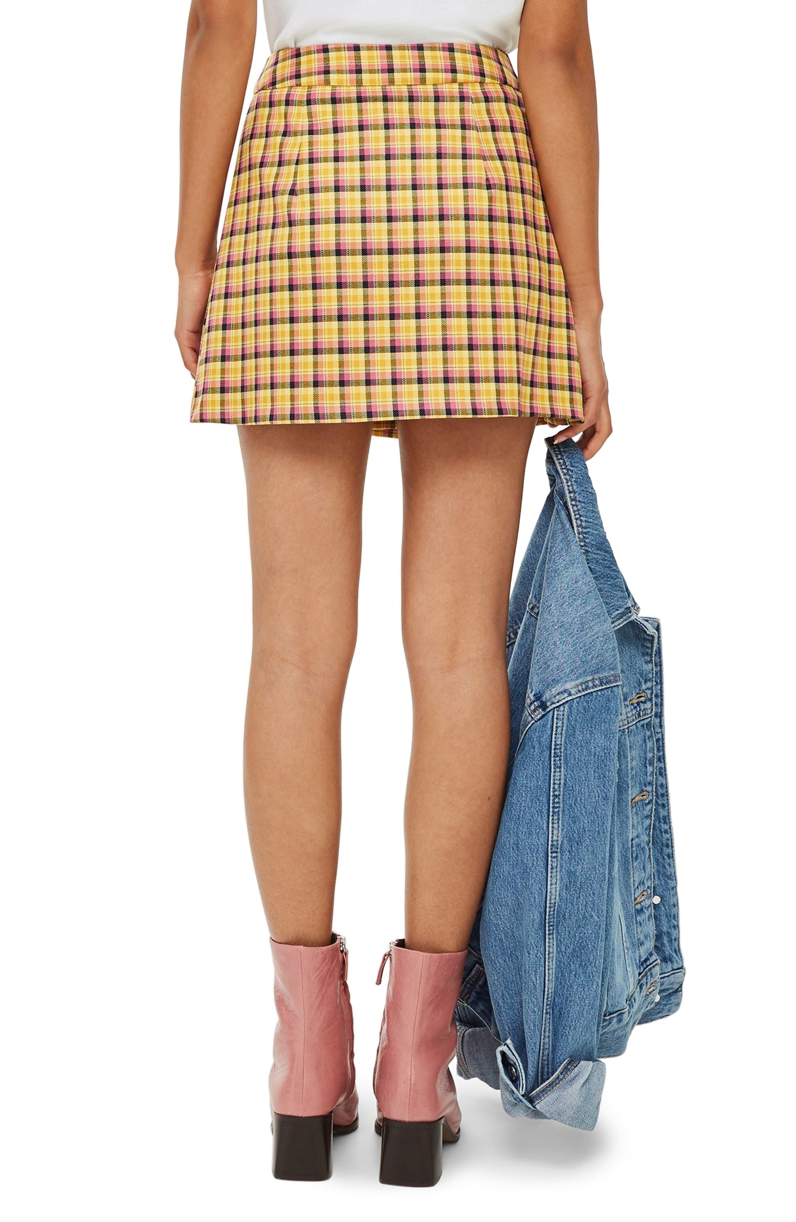 Check Kilt Miniskirt,                             Alternate thumbnail 2, color,                             YELLOW MULTI