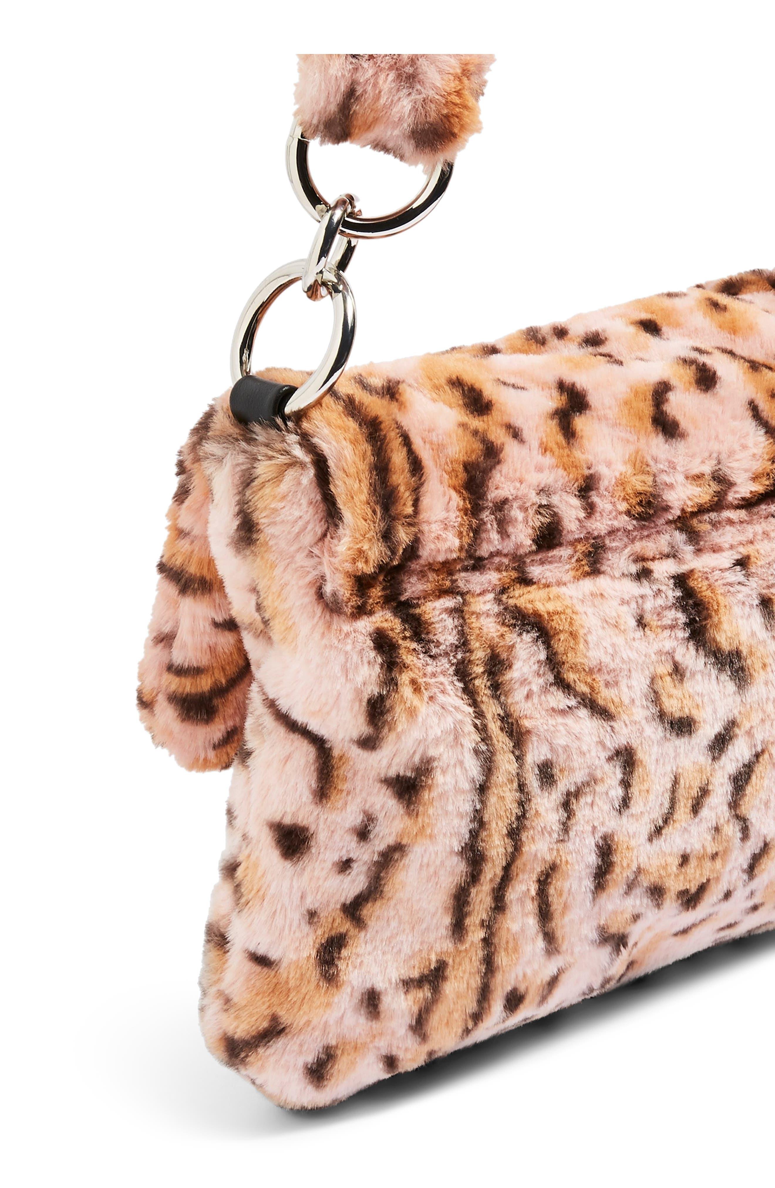 Teddy Leopard Print Faux Fur Shoulder Bag,                             Alternate thumbnail 7, color,                             650