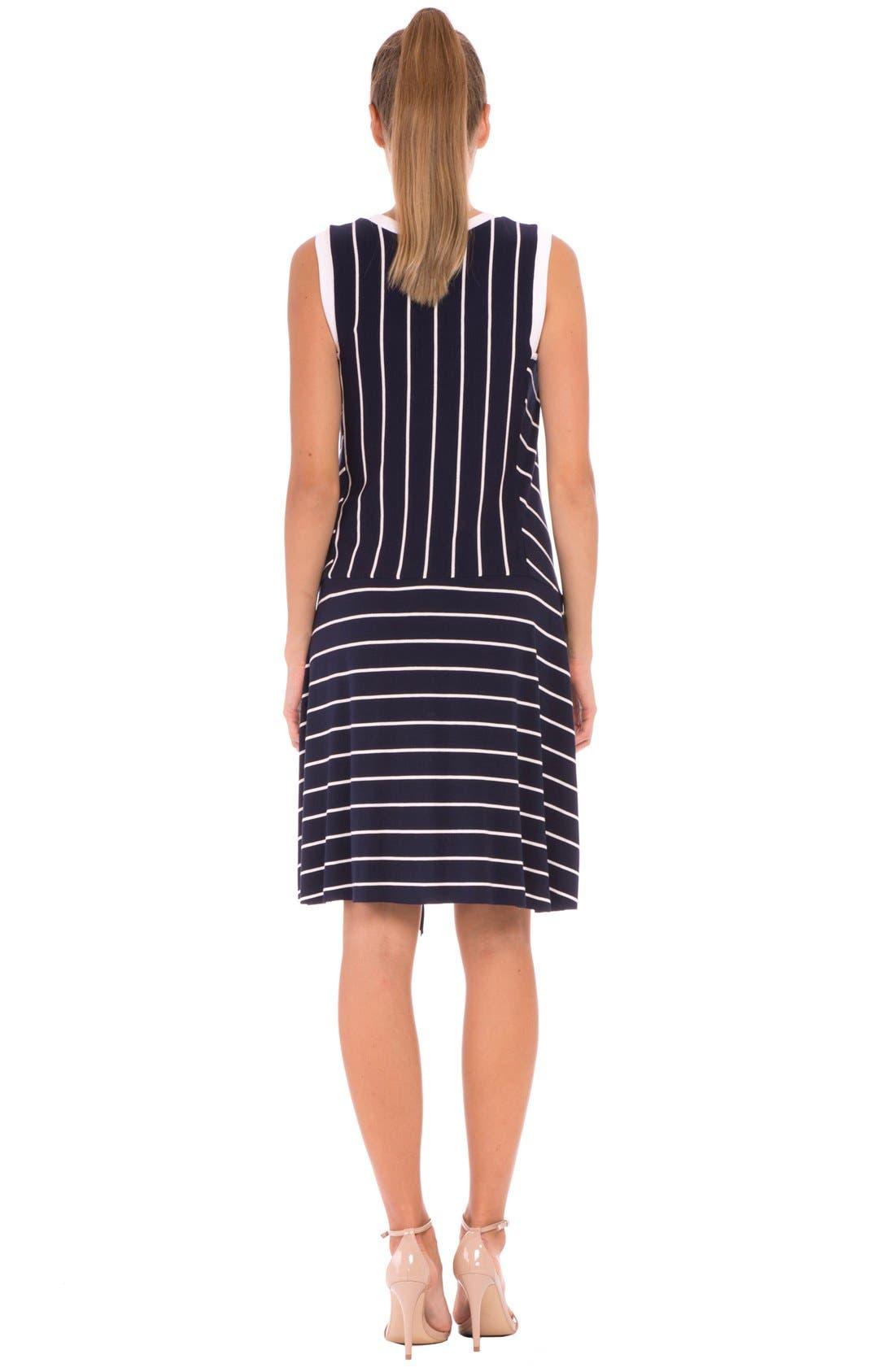 'Krystal' Stripe Ruffle Maternity Dress,                             Alternate thumbnail 3, color,                             415