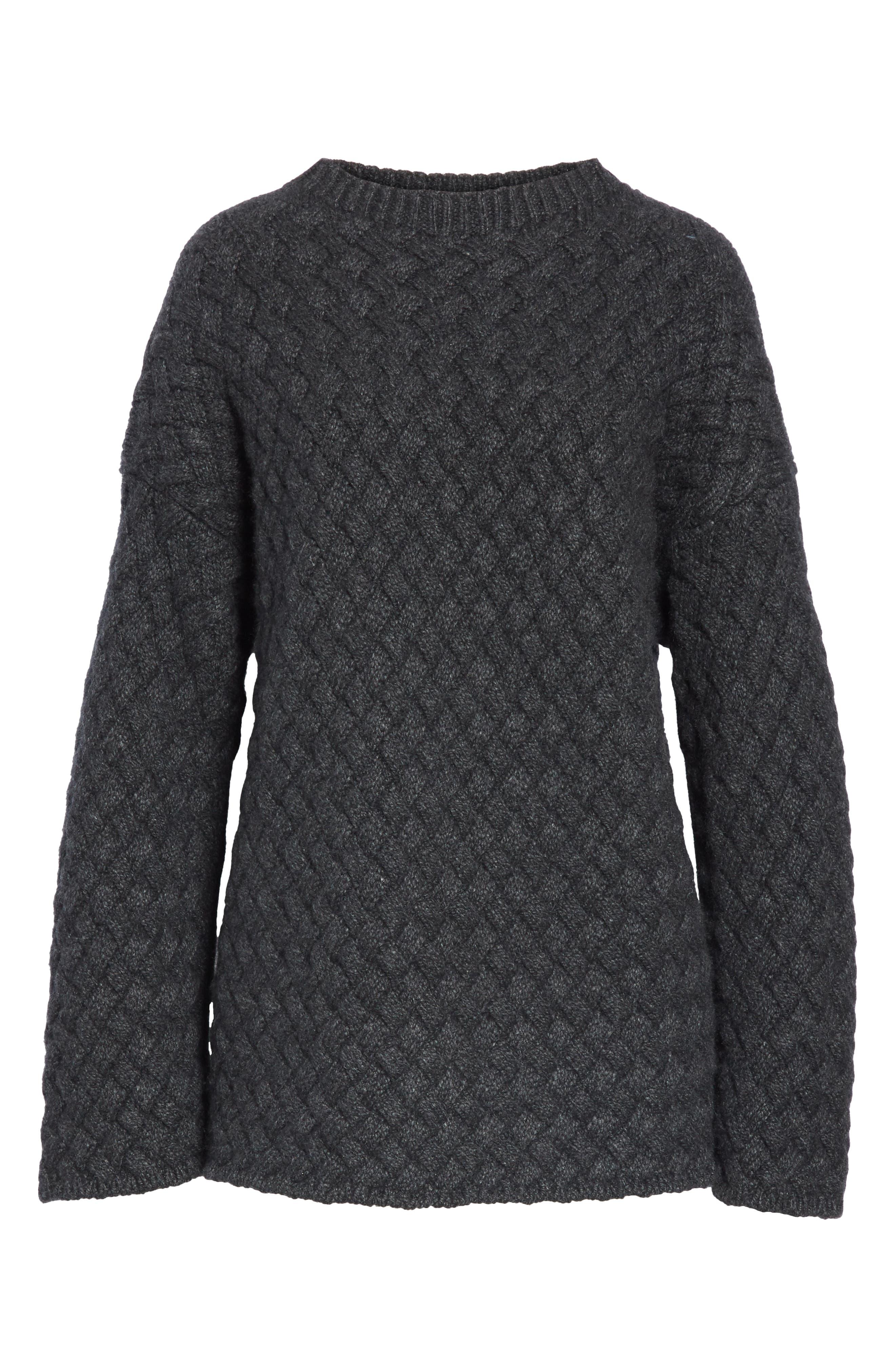 Oversized Braided Cashmere Sweater,                             Alternate thumbnail 7, color,                             DARK GREY