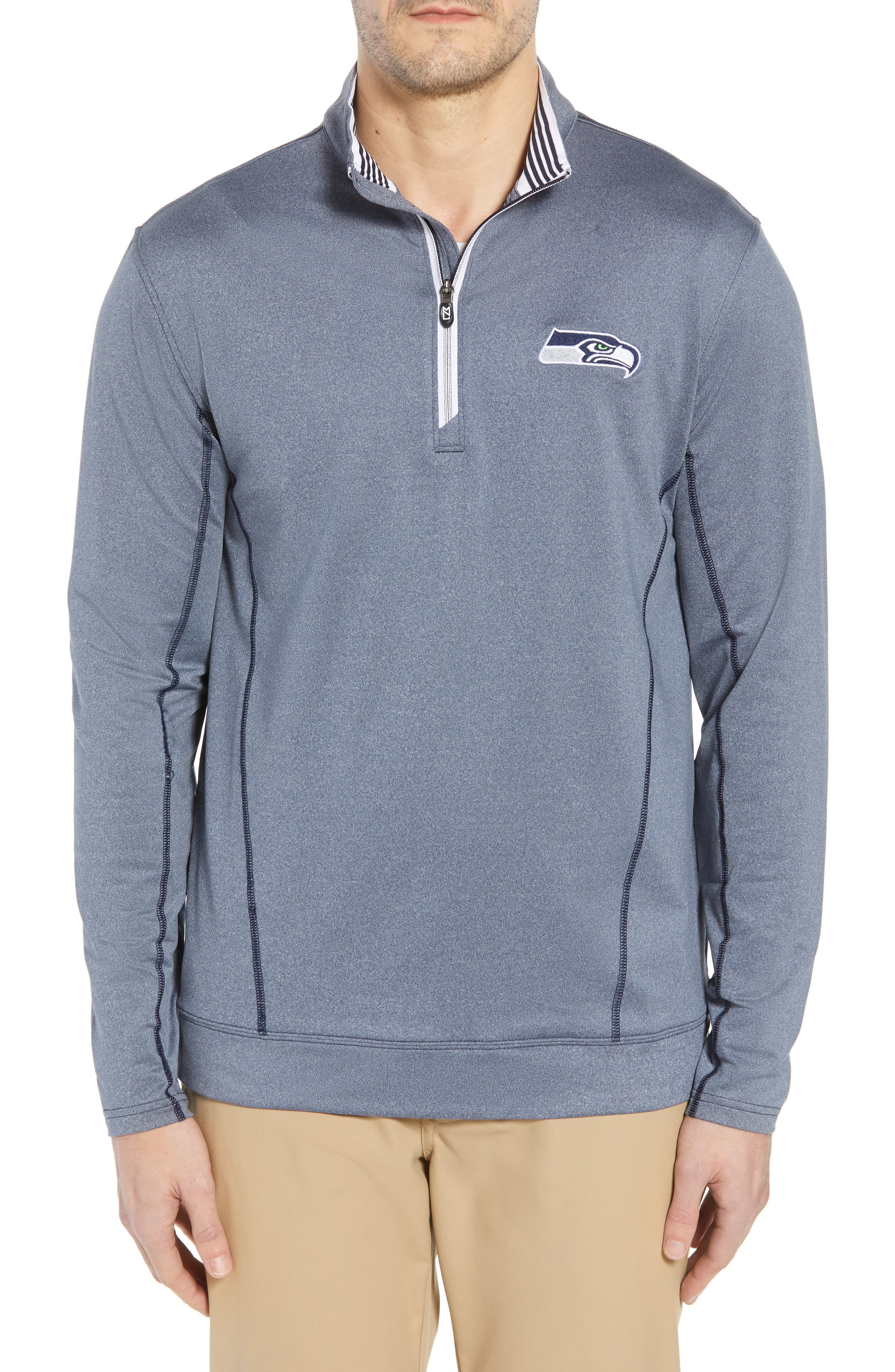 Endurance Seattle Seahawks Regular Fit Pullover,                             Main thumbnail 1, color,                             LIBERTY NAVY HEATHER