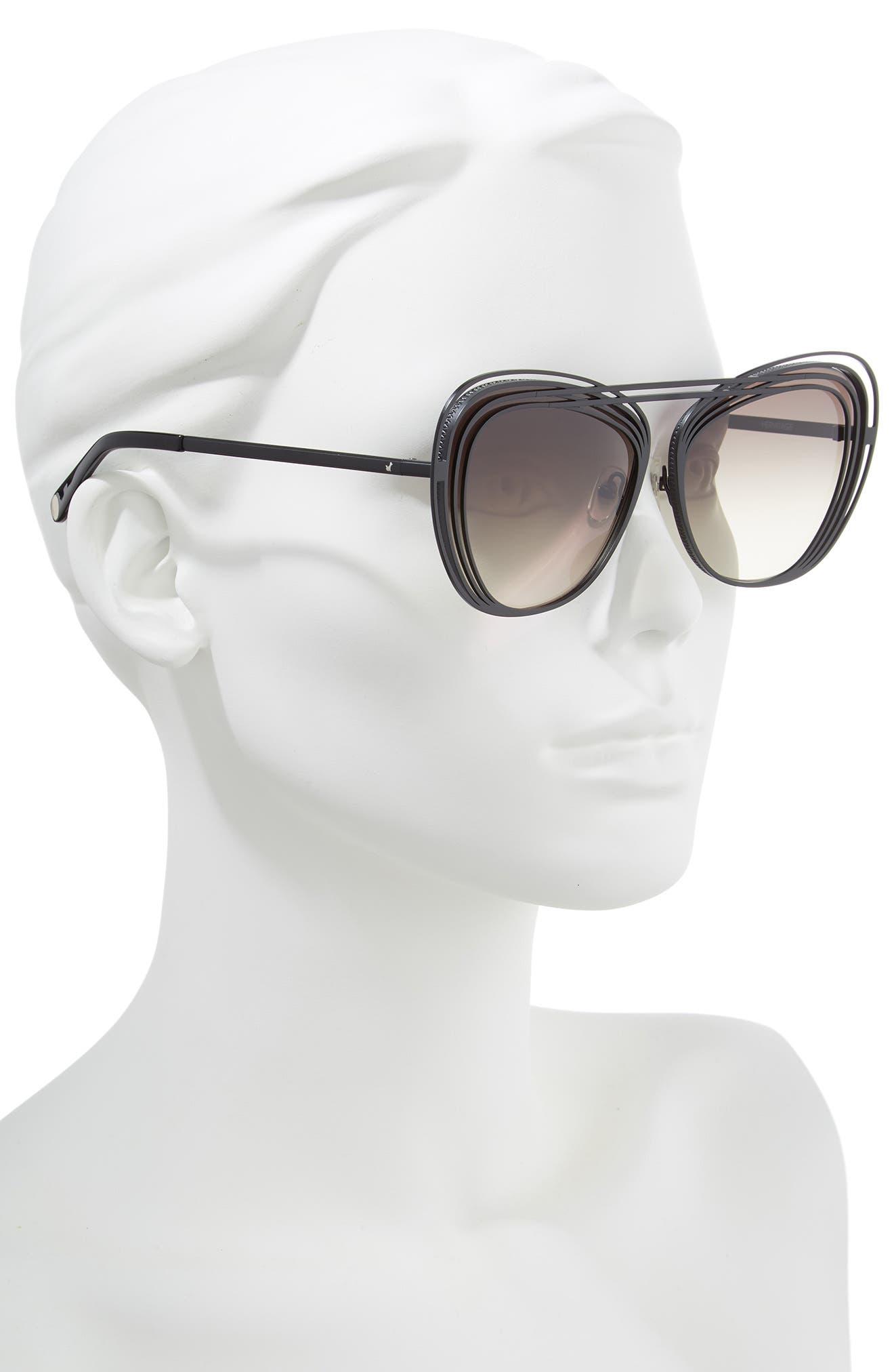 Hermitage 61mm Cat Eye Sunglasses,                             Alternate thumbnail 2, color,                             MATTE BLACK/ GREY GRADIENT