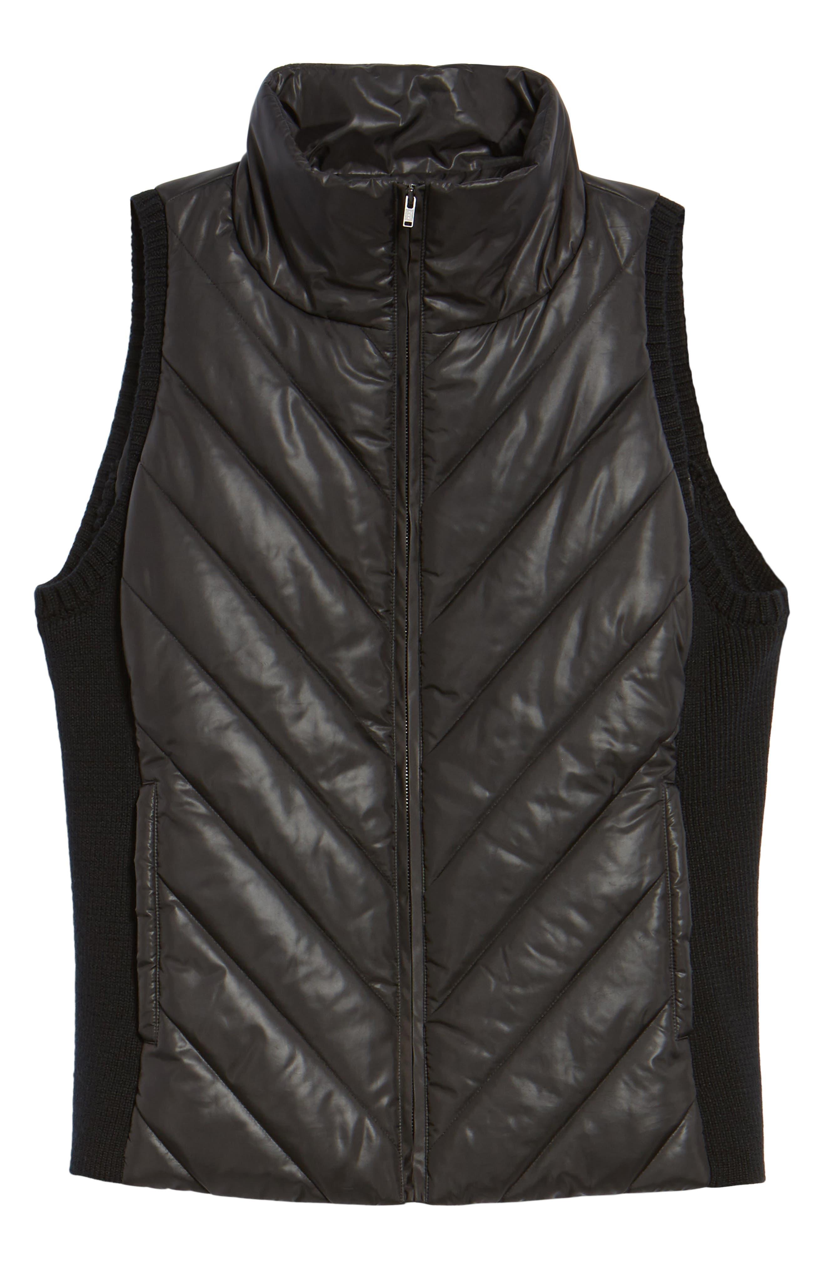Merino Wool Trim Puffer Vest,                             Alternate thumbnail 5, color,                             001