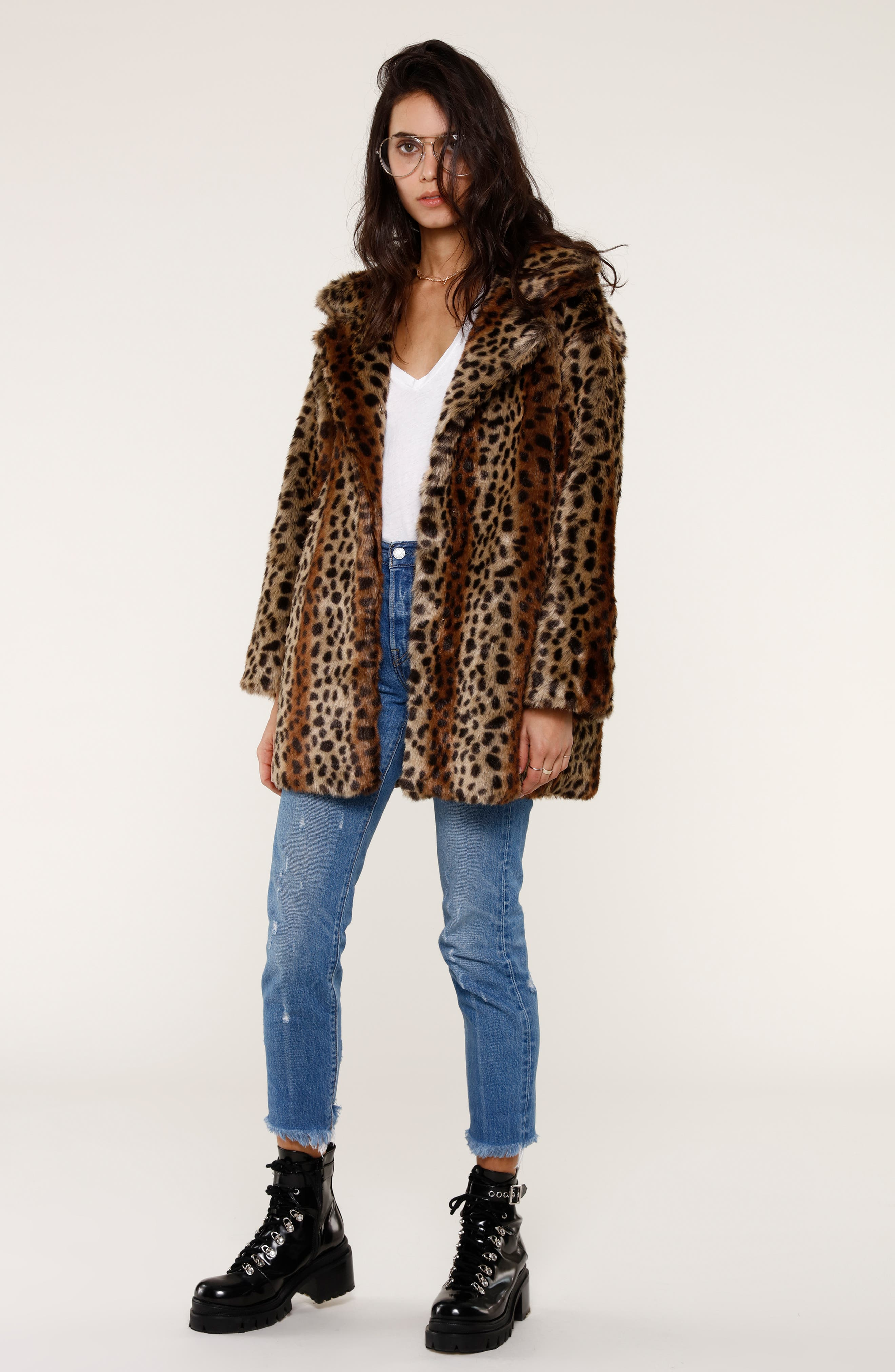 Mika Leopard Faux Fur Jacket,                             Alternate thumbnail 8, color,                             200