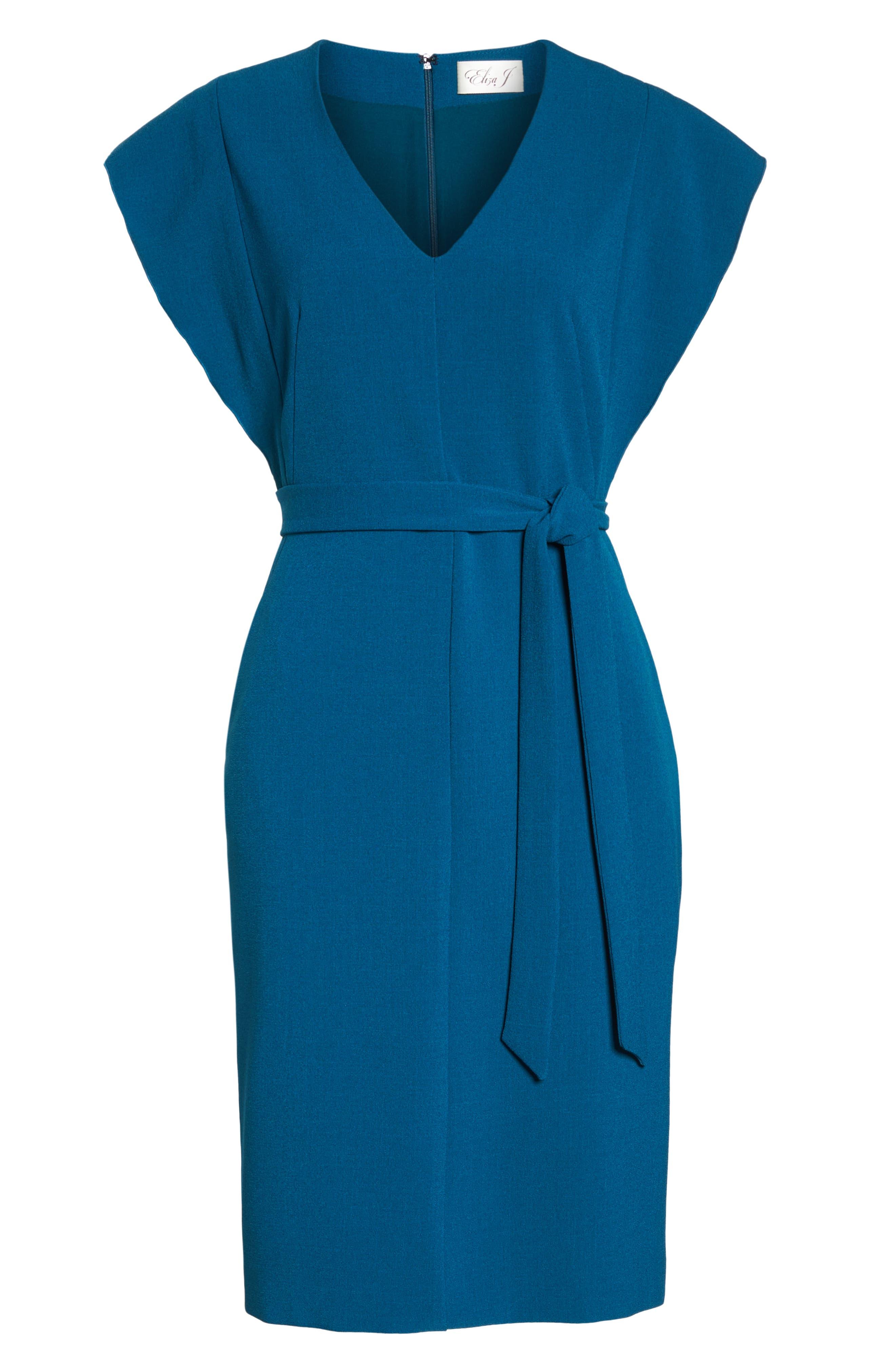 Ruffle Sleeve Sheath Dress,                             Alternate thumbnail 7, color,                             TEAL