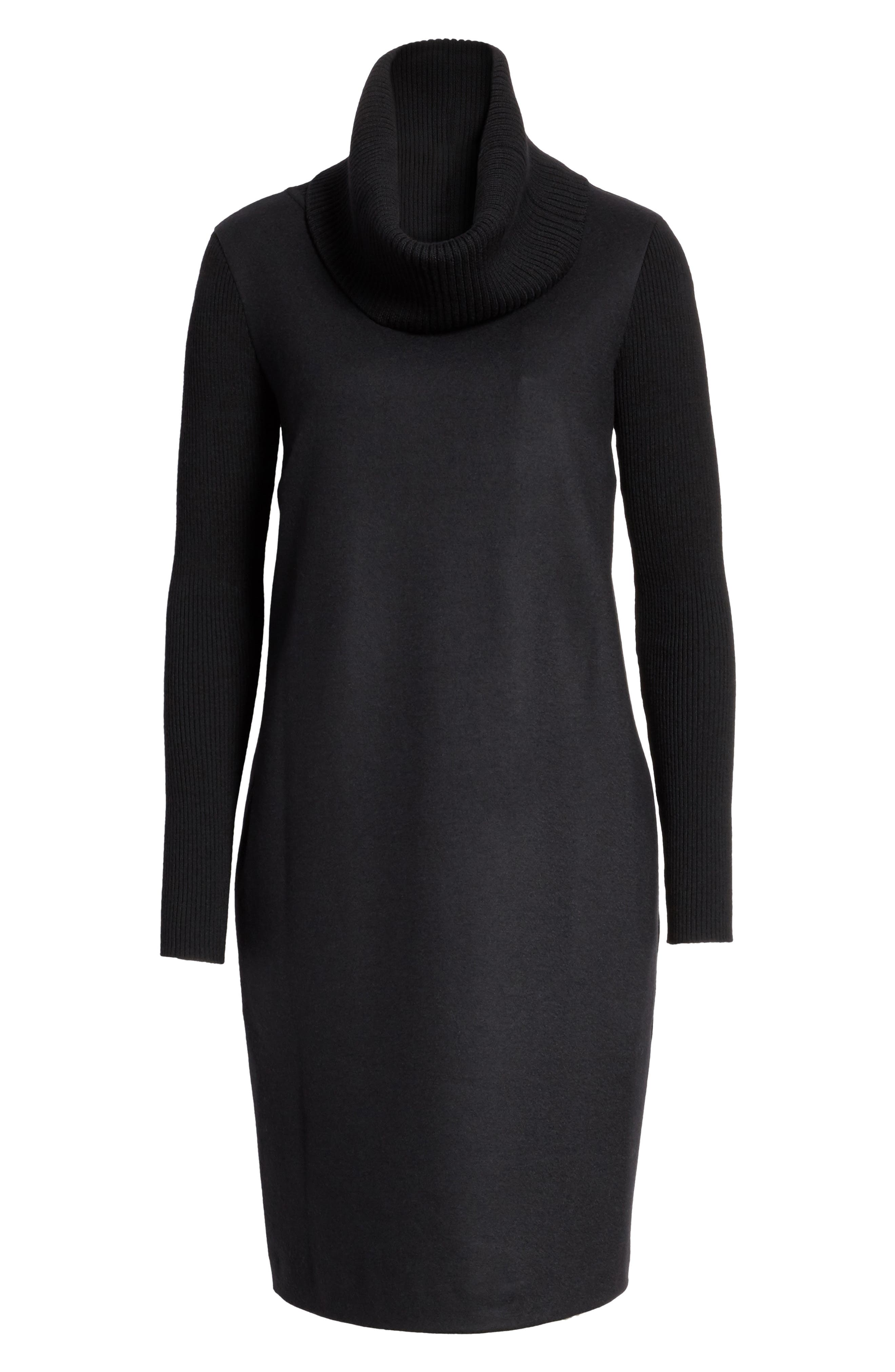 Cancan Wool Jersey Dress with Removable Knit Cowl,                             Alternate thumbnail 6, color,                             001