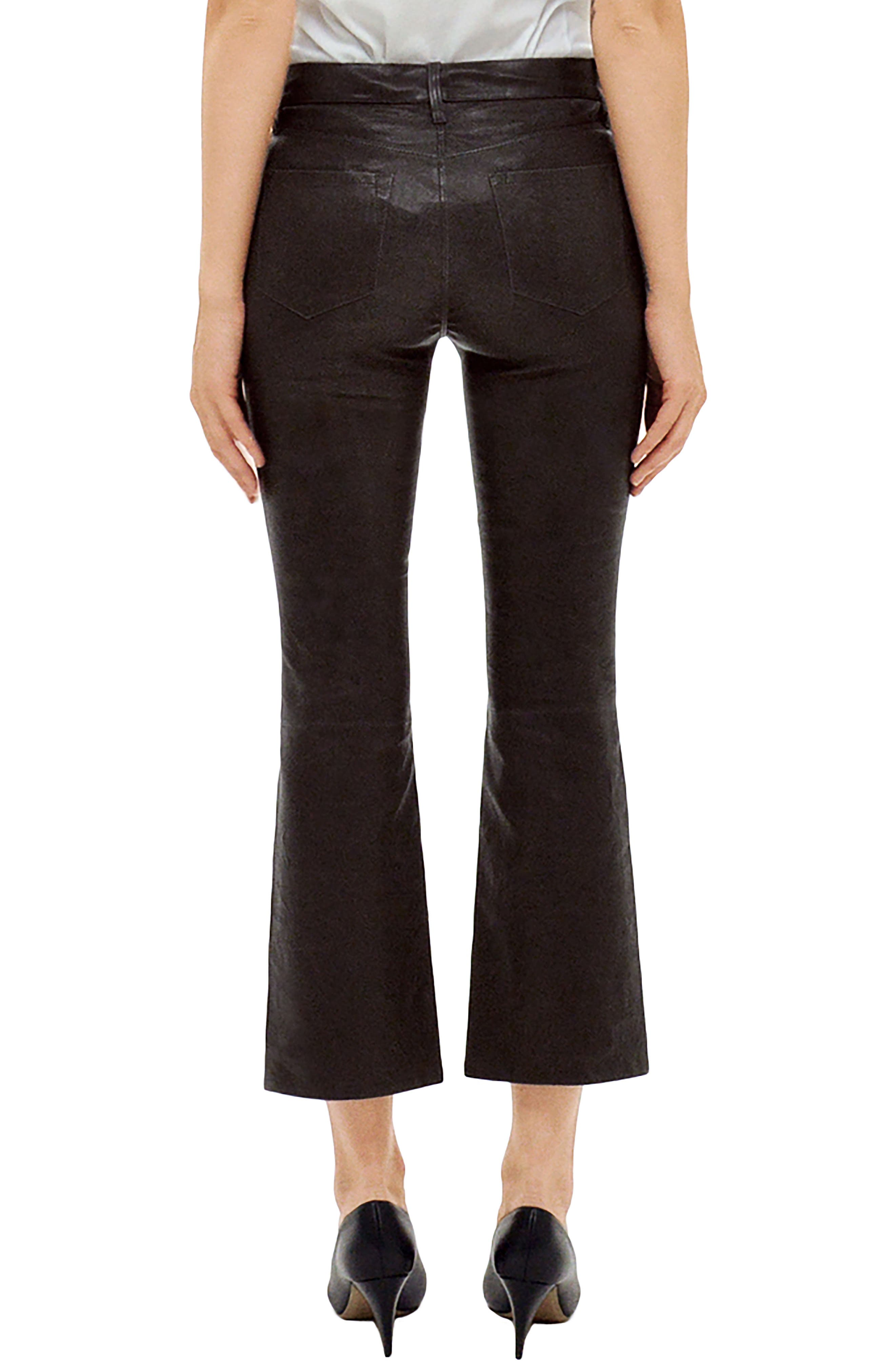 Selena Mid Rise Crop Bootcut Leather Jeans,                             Alternate thumbnail 2, color,