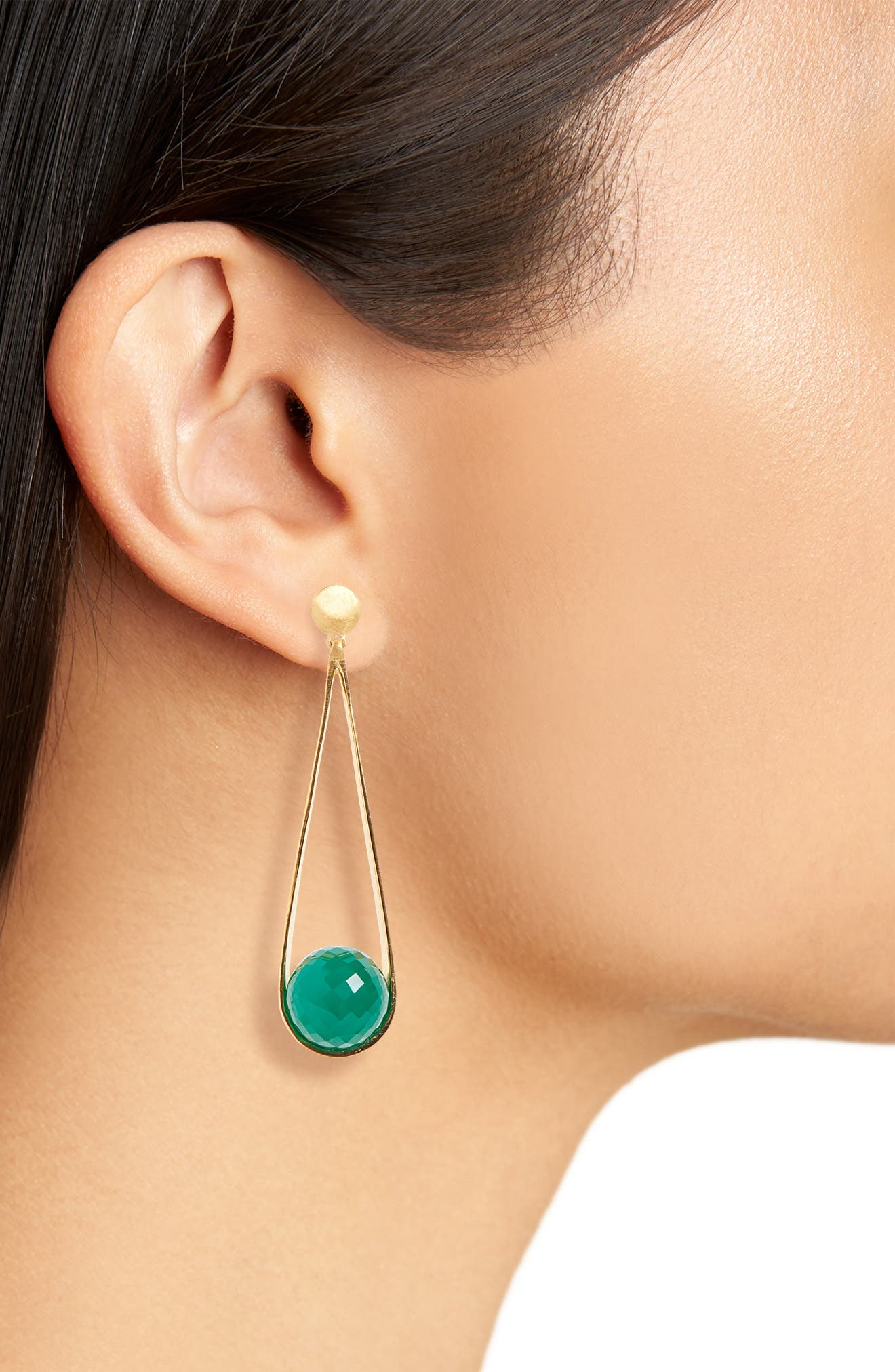 Ipanema Earrings,                             Alternate thumbnail 2, color,                             GREEN ONYX/ GOLD