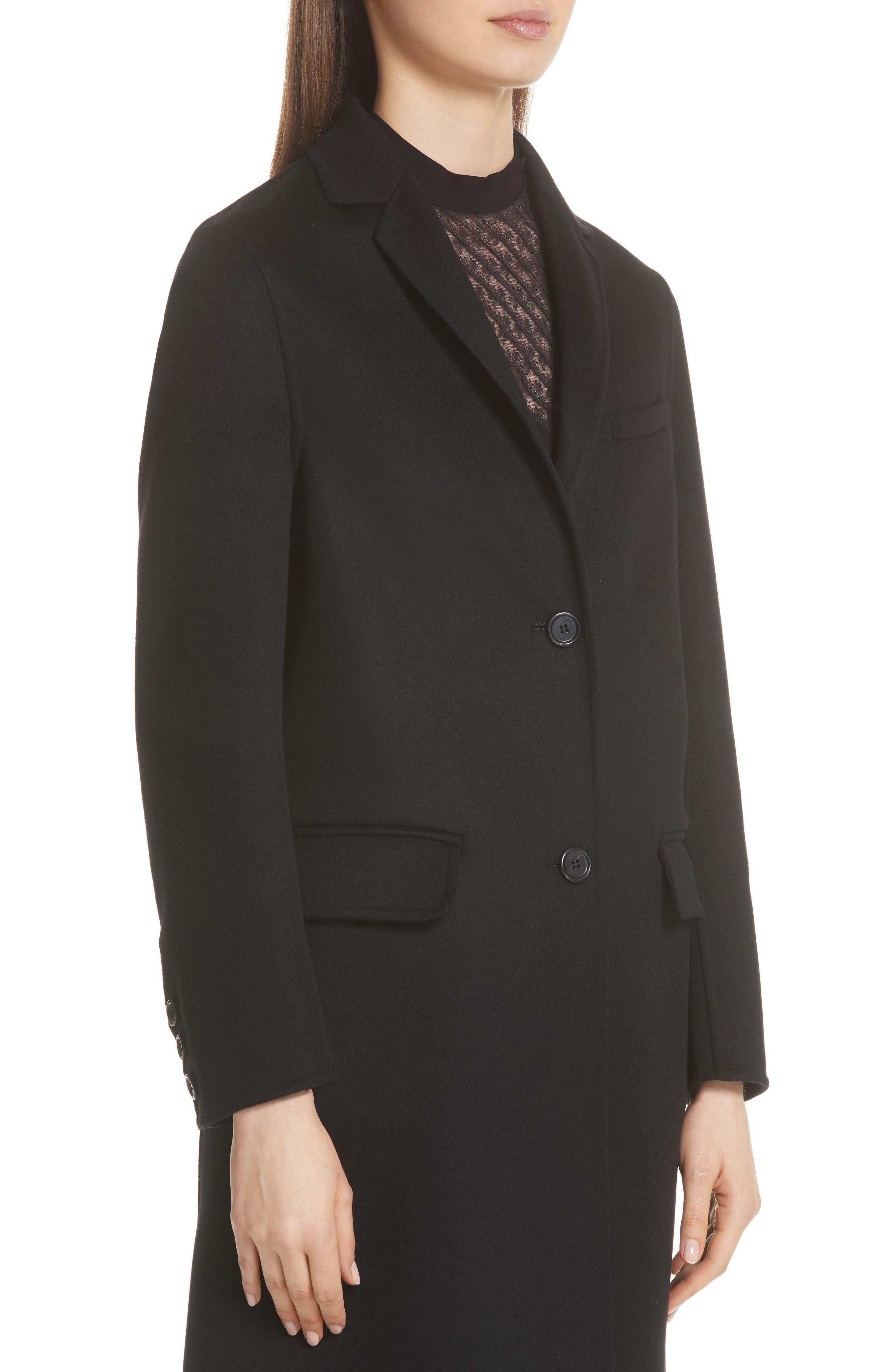 VLTN Logo Back Wool & Cashmere Coat,                             Alternate thumbnail 4, color,                             BLACK