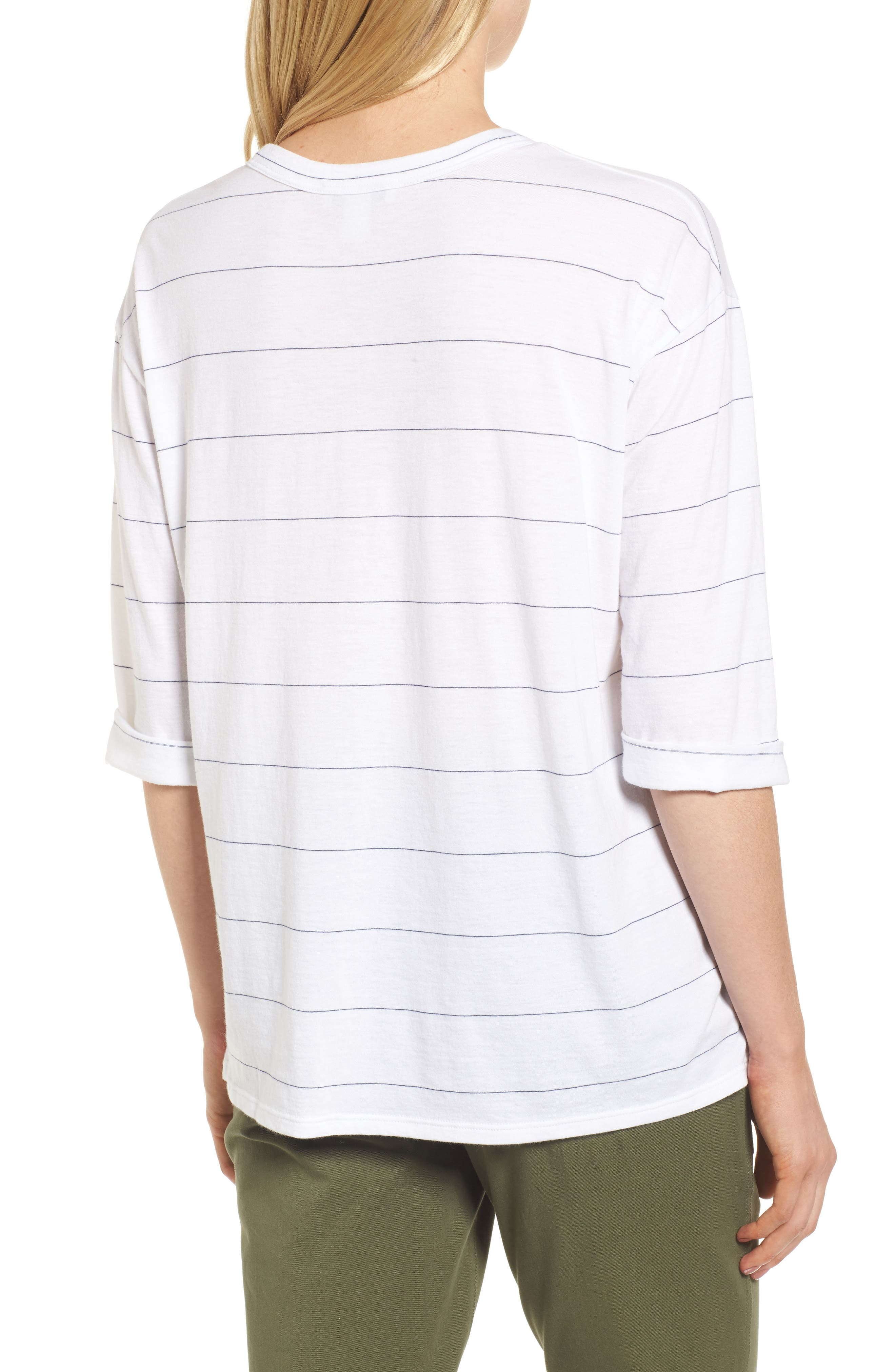 Stripe Relaxed Tee,                             Alternate thumbnail 2, color,                             100