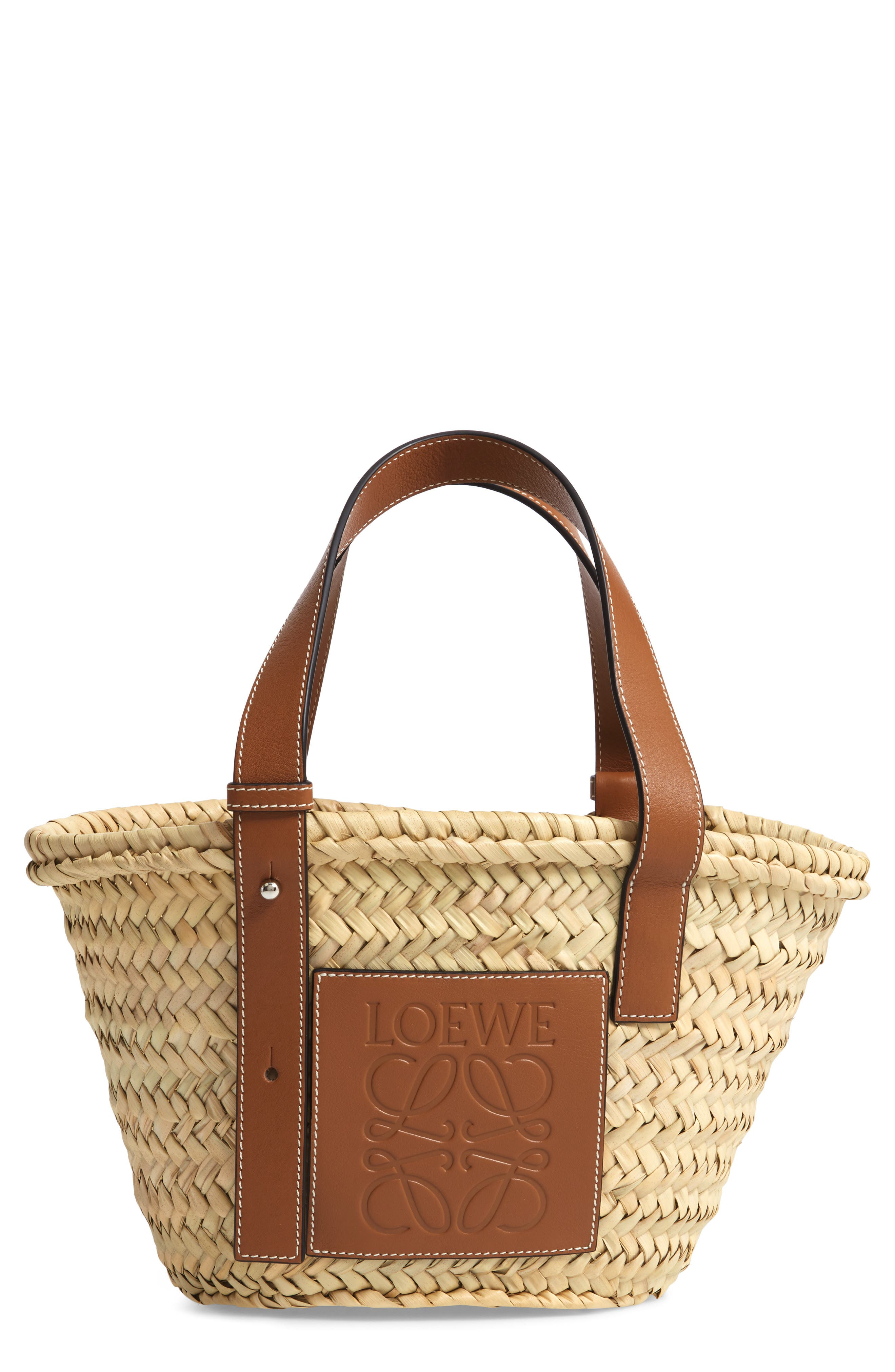 Small Logo Straw Tote,                         Main,                         color, 2435 NATURAL/ TAN