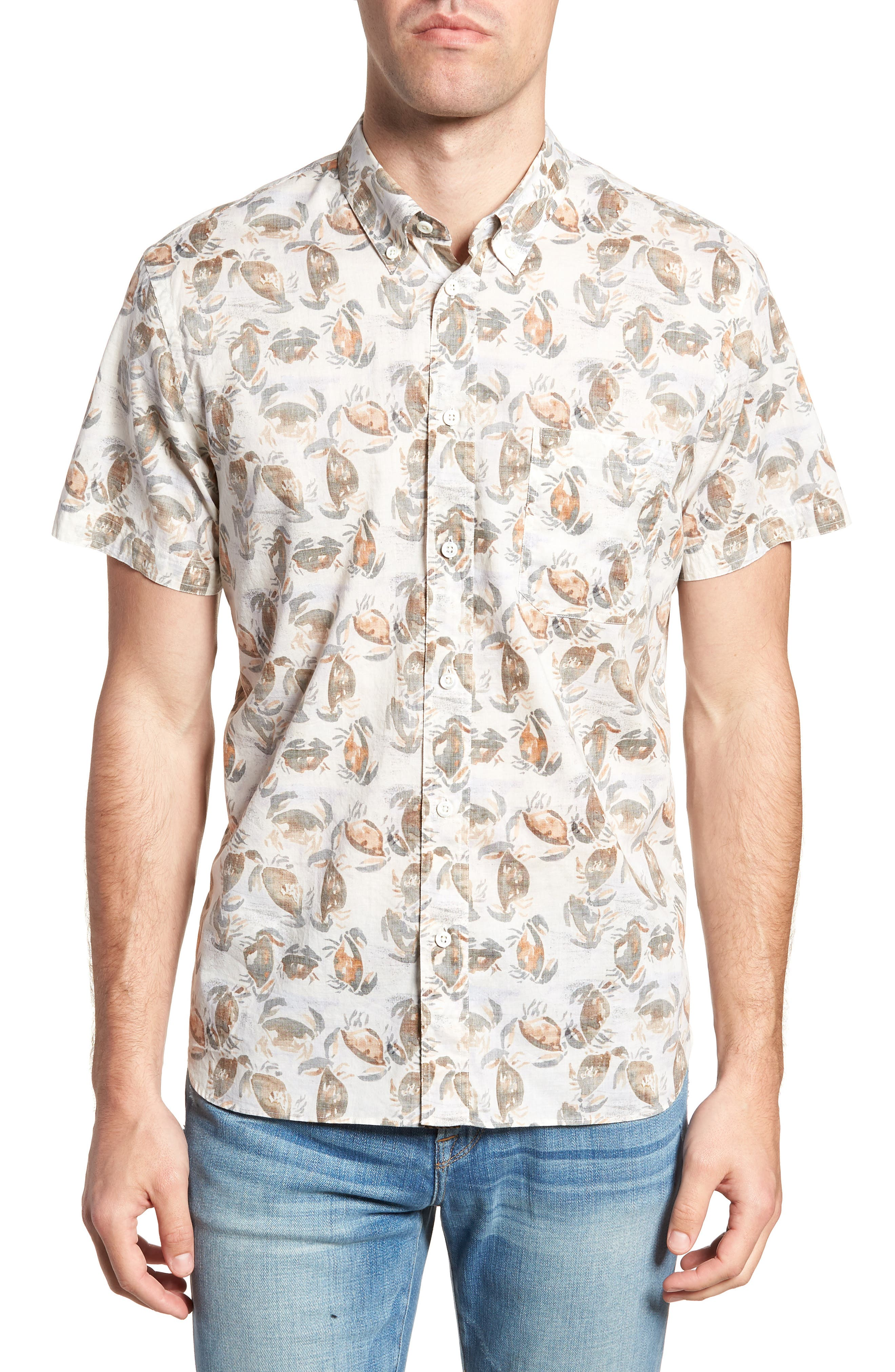 Tuscumbia Standard Fit Short Sleeve Sport Shirt,                             Main thumbnail 1, color,                             CREAM CRAB