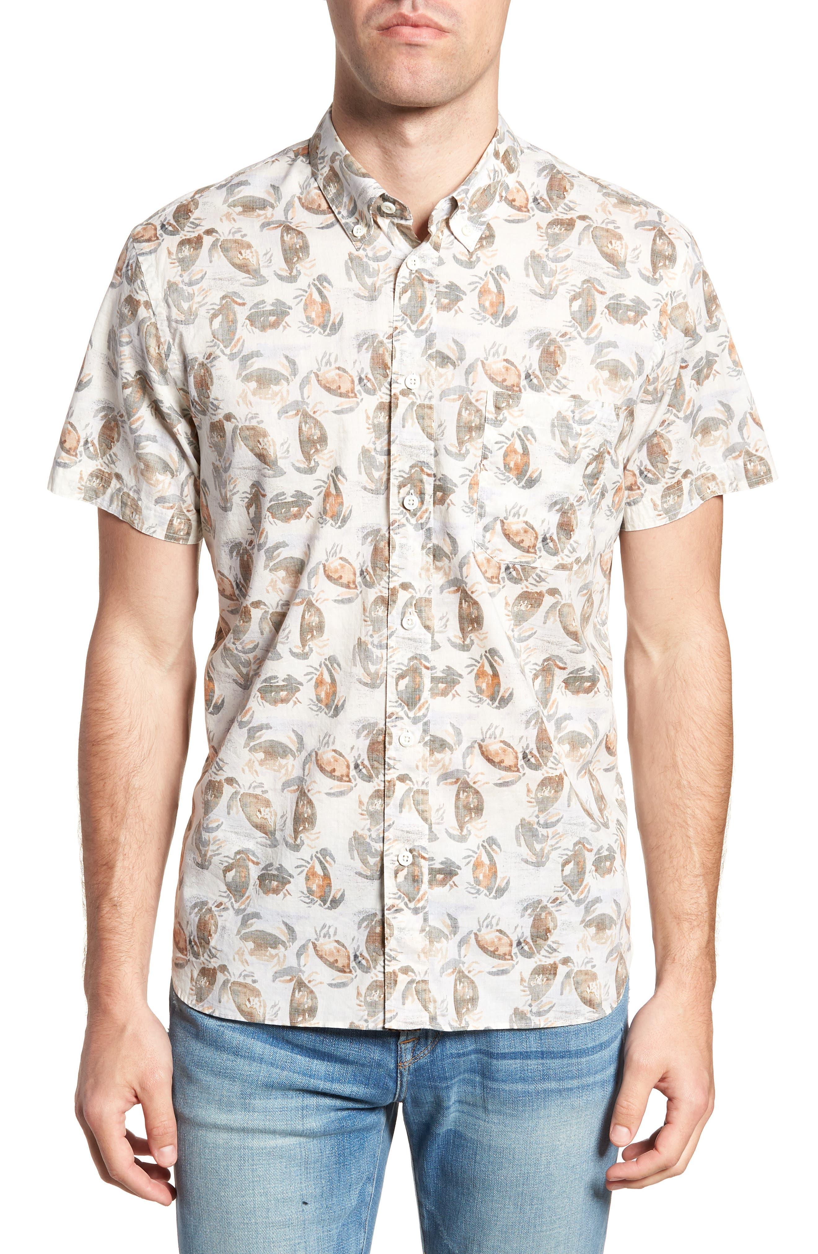 Tuscumbia Standard Fit Short Sleeve Sport Shirt,                         Main,                         color, CREAM CRAB