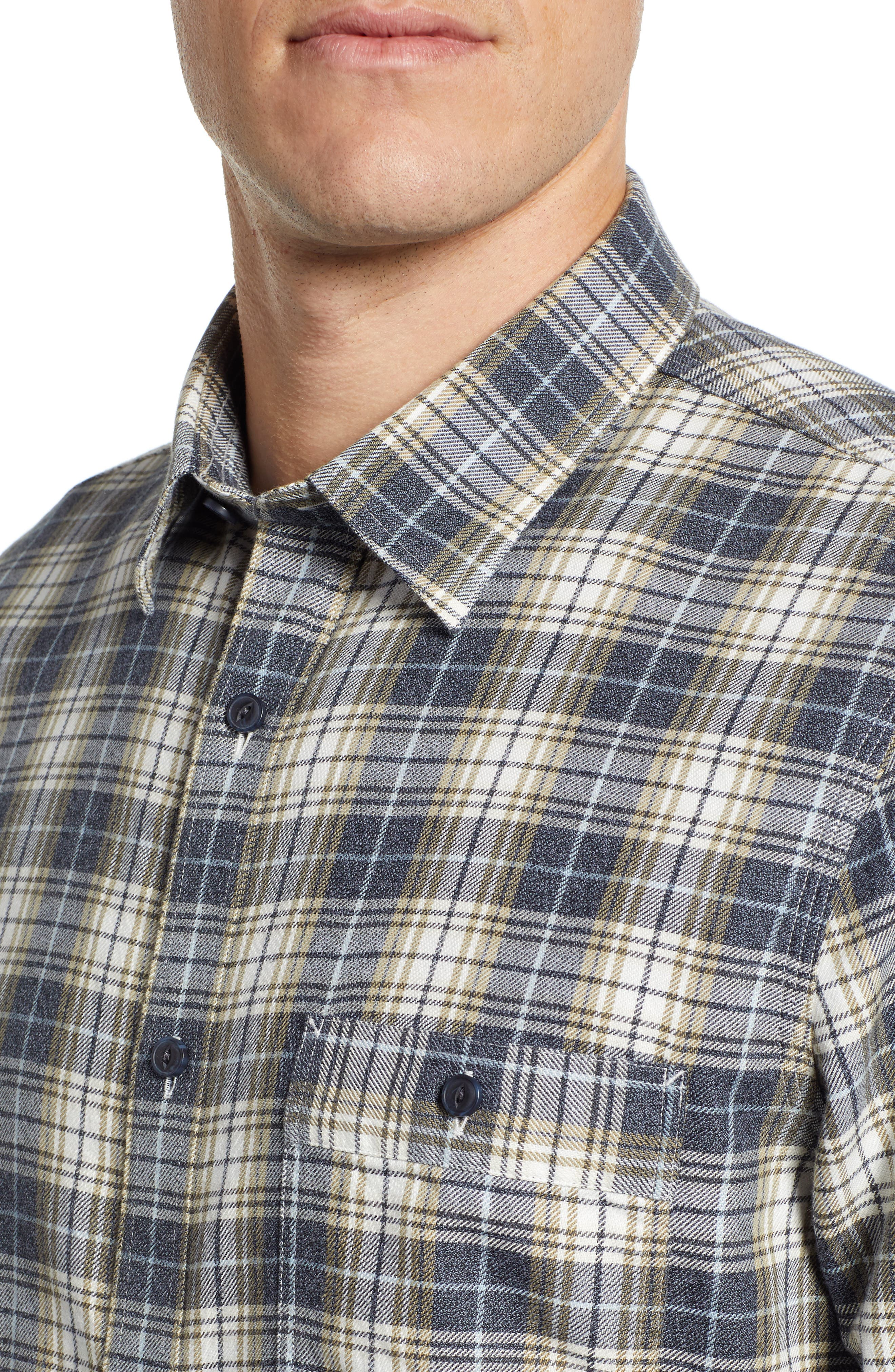 Trucker Regular Fit Plaid Flannel Shirt,                             Alternate thumbnail 4, color,                             IVORY EGRET TWILL PLAID