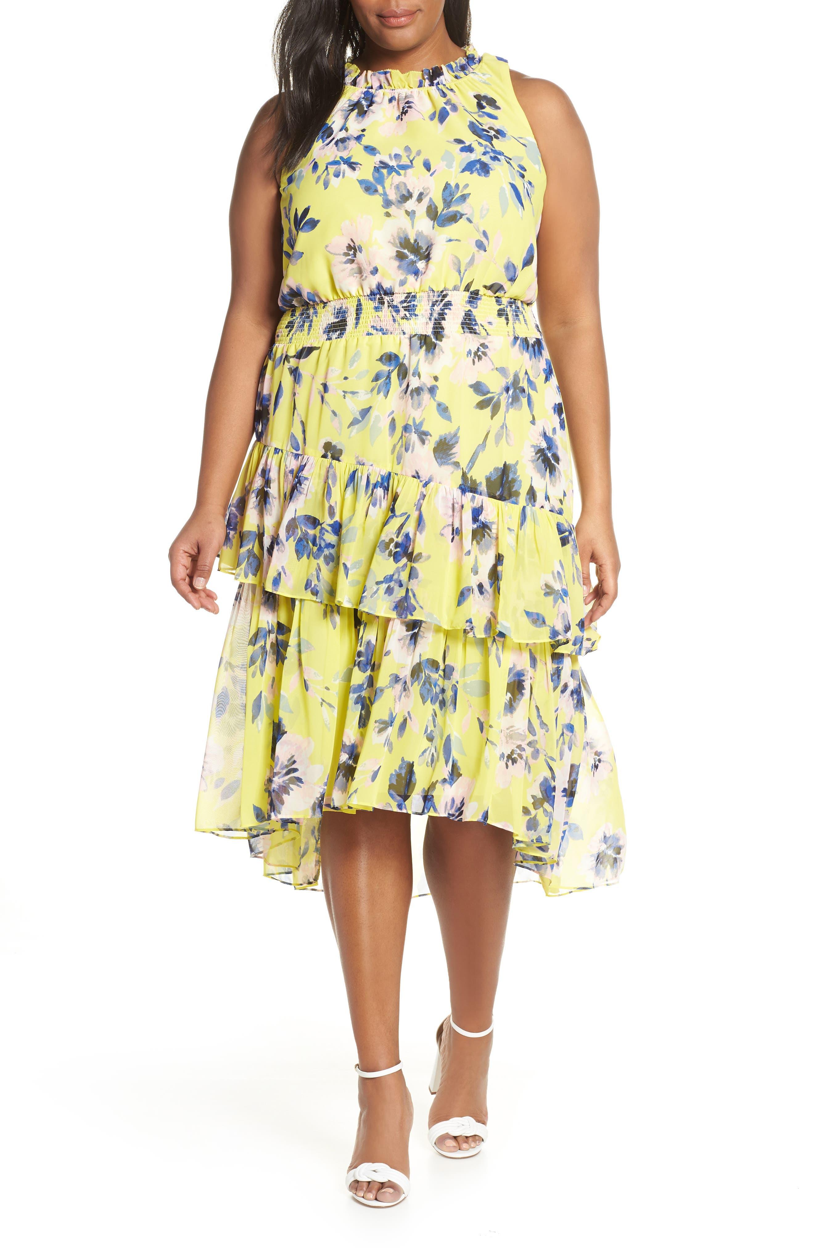 Plus Size Eliza J Floral Asymmetrical Tiered Dress, Yellow
