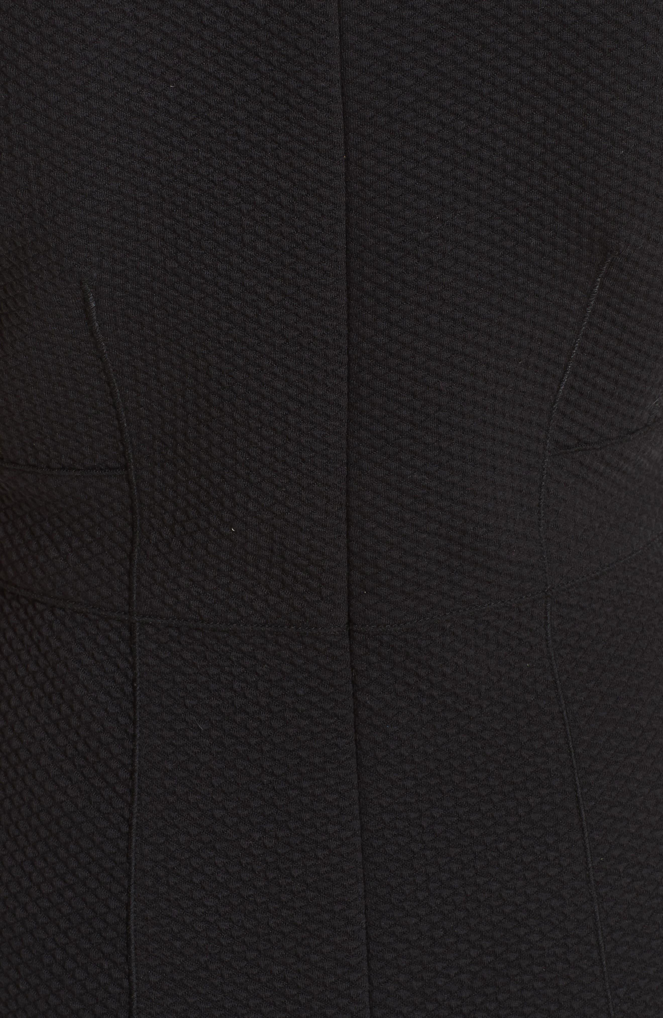 Honeycomb Fit & Flare Dress,                             Alternate thumbnail 6, color,                             BLACK