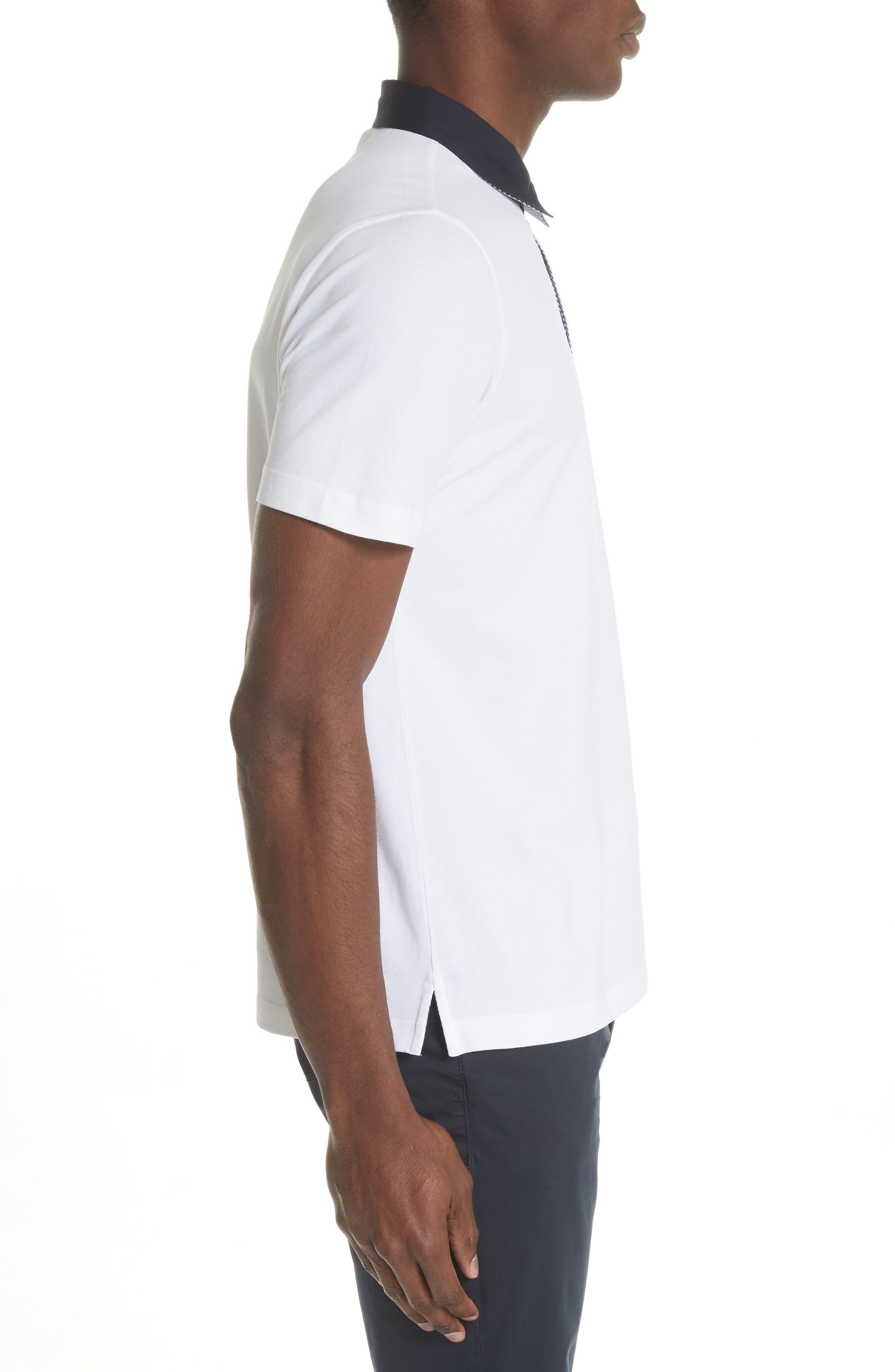 Stretch Cotton Polo Shirt,                             Alternate thumbnail 3, color,                             BIANCO OTTICO