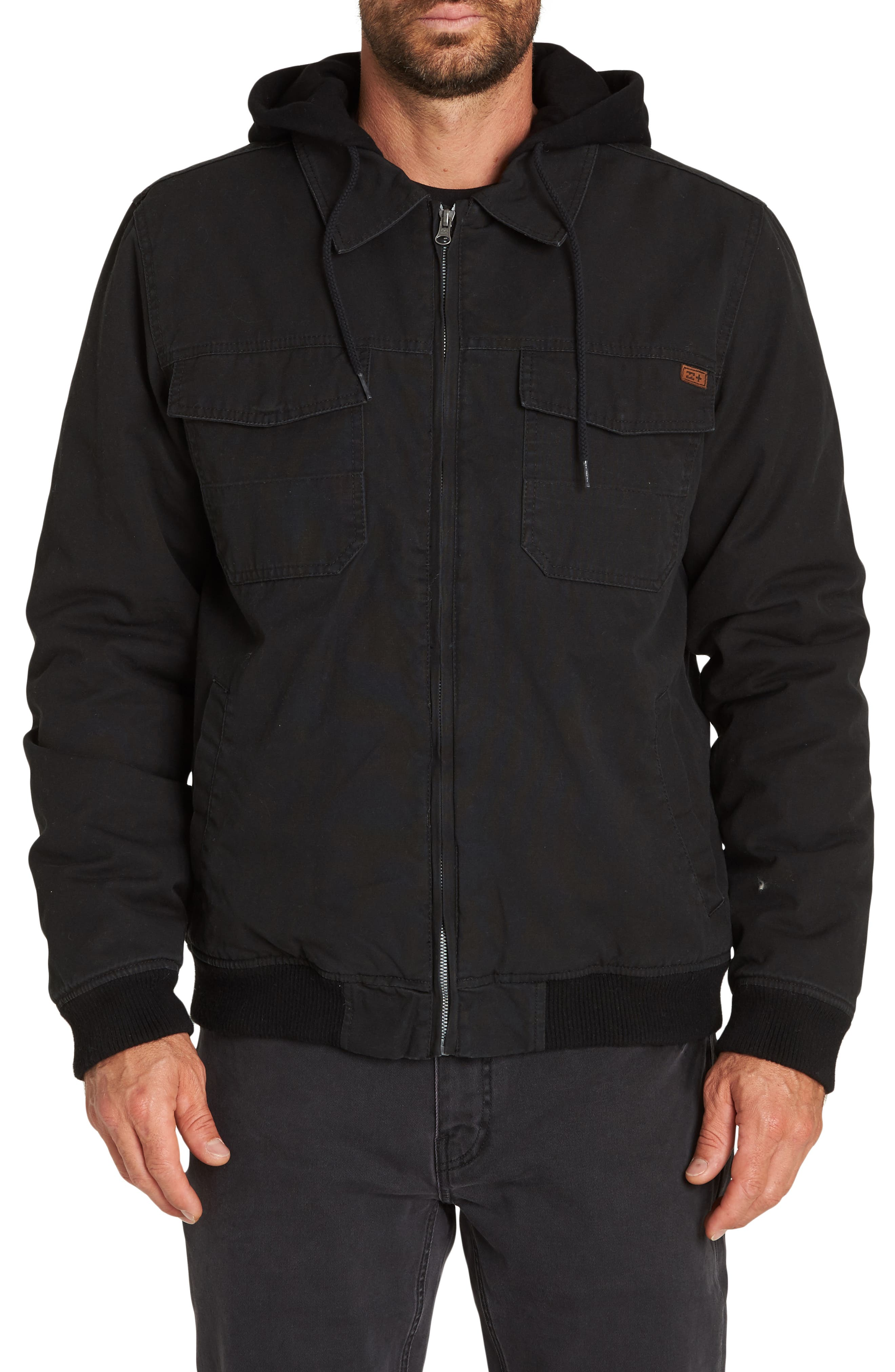 Barlow Hooded Twill Jacket,                         Main,                         color, BLACK