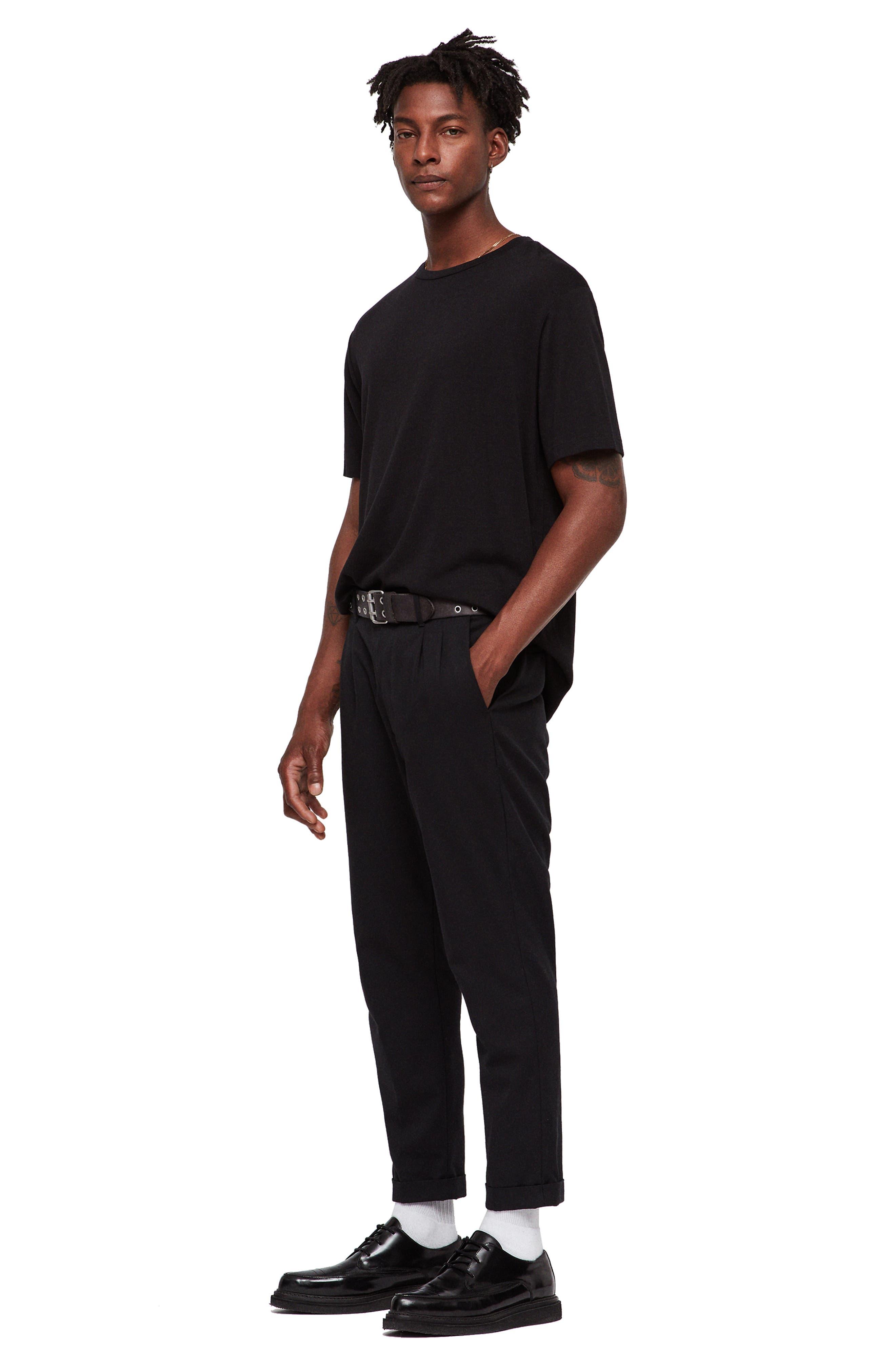 Satum Longline T-Shirt,                             Alternate thumbnail 3, color,                             JET BLACK