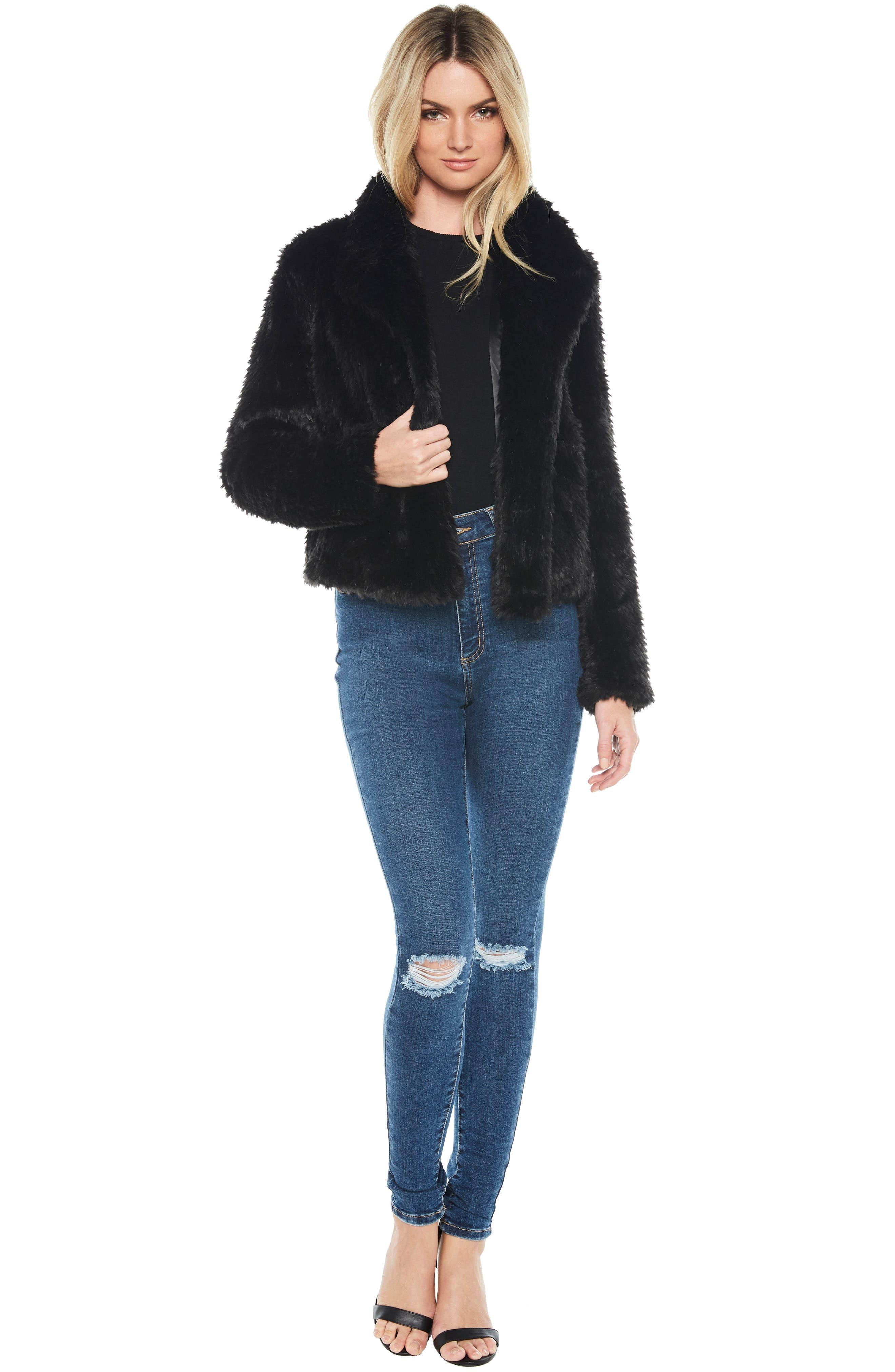 Crop Faux Fur Jacket,                             Alternate thumbnail 5, color,                             BLACK