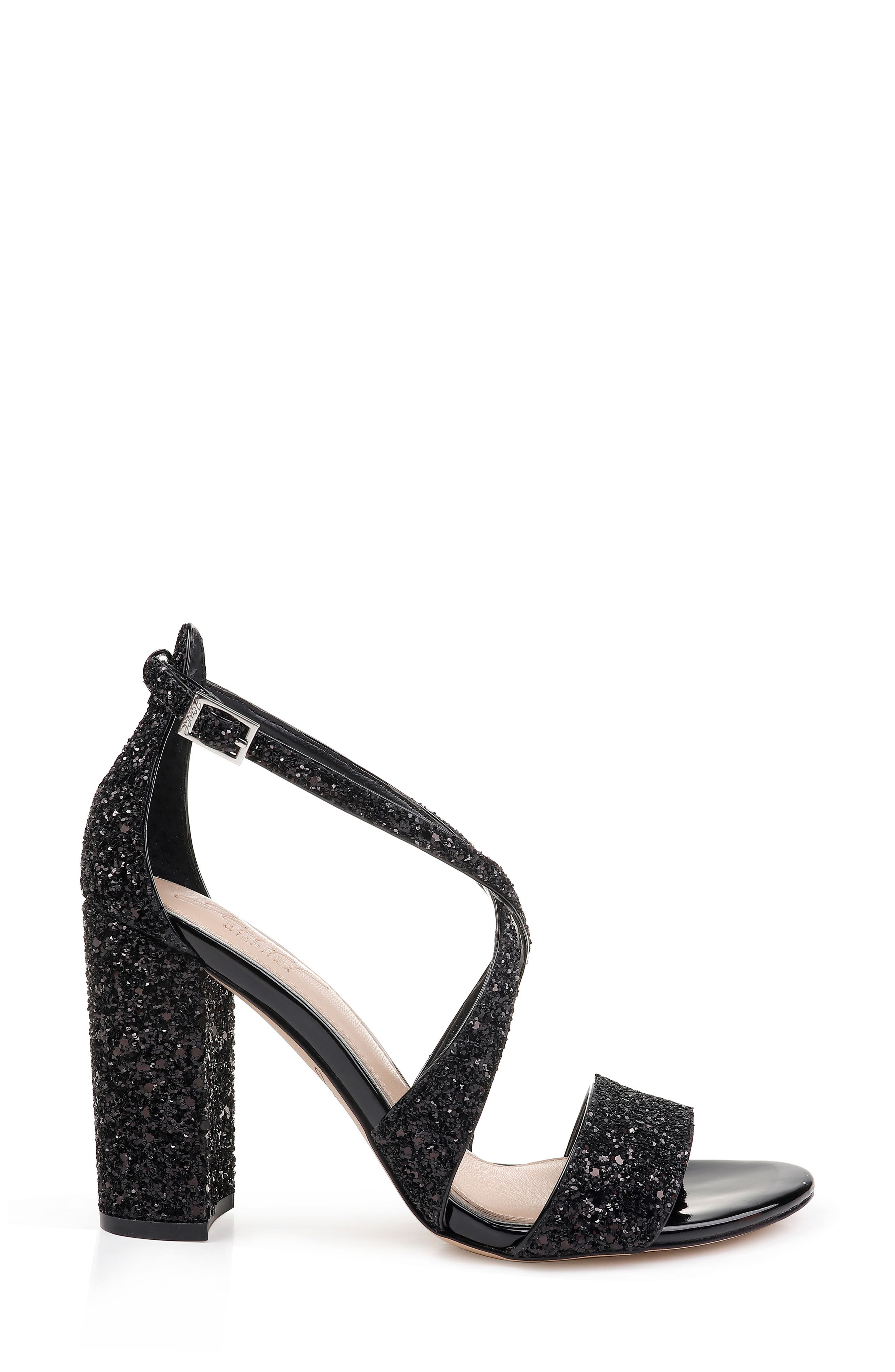 Cook Block Heel Glitter Sandal,                             Alternate thumbnail 3, color,                             BLACK LEATHER