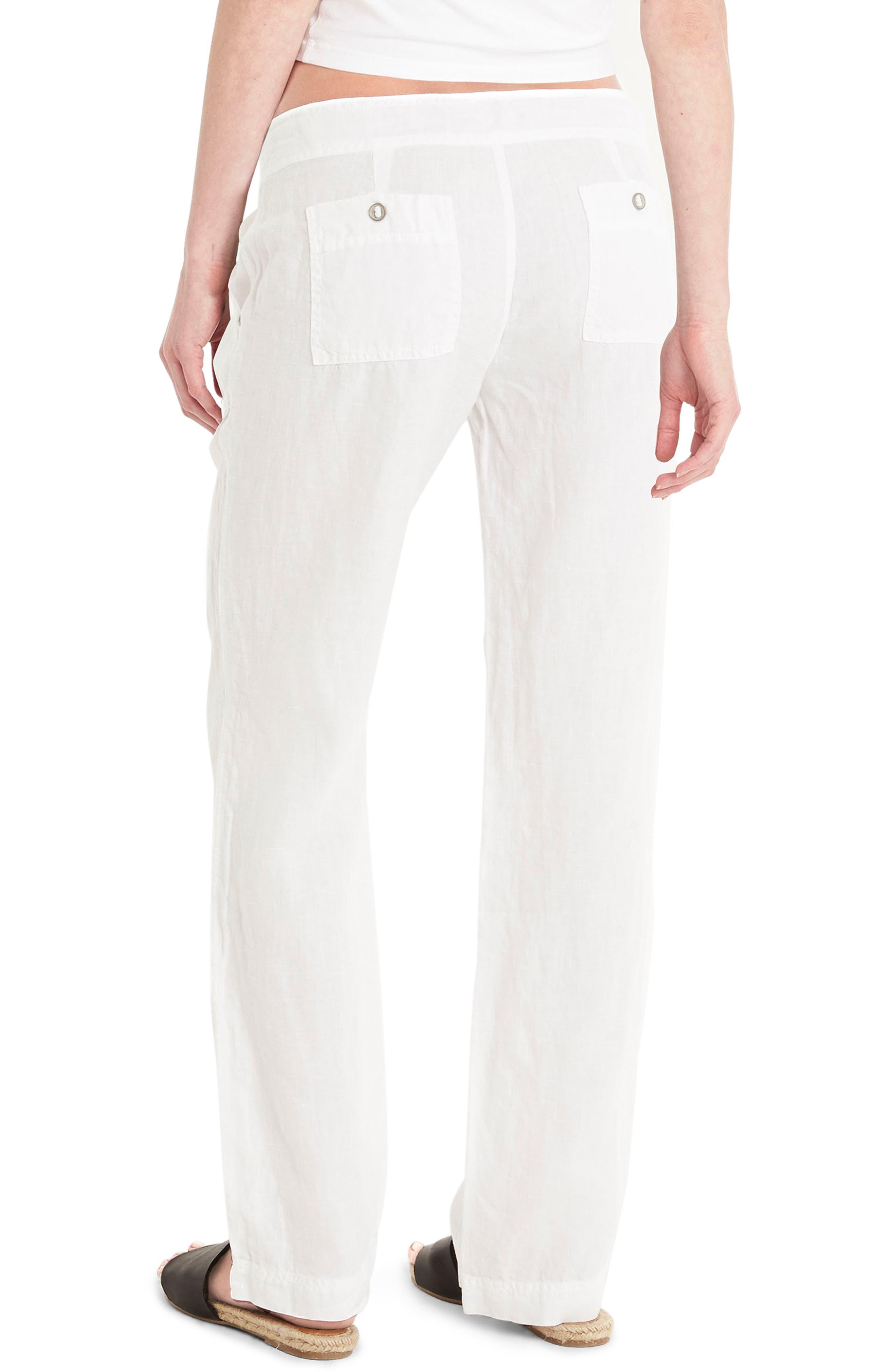 Linen Wide Leg Pants,                             Alternate thumbnail 2, color,                             100