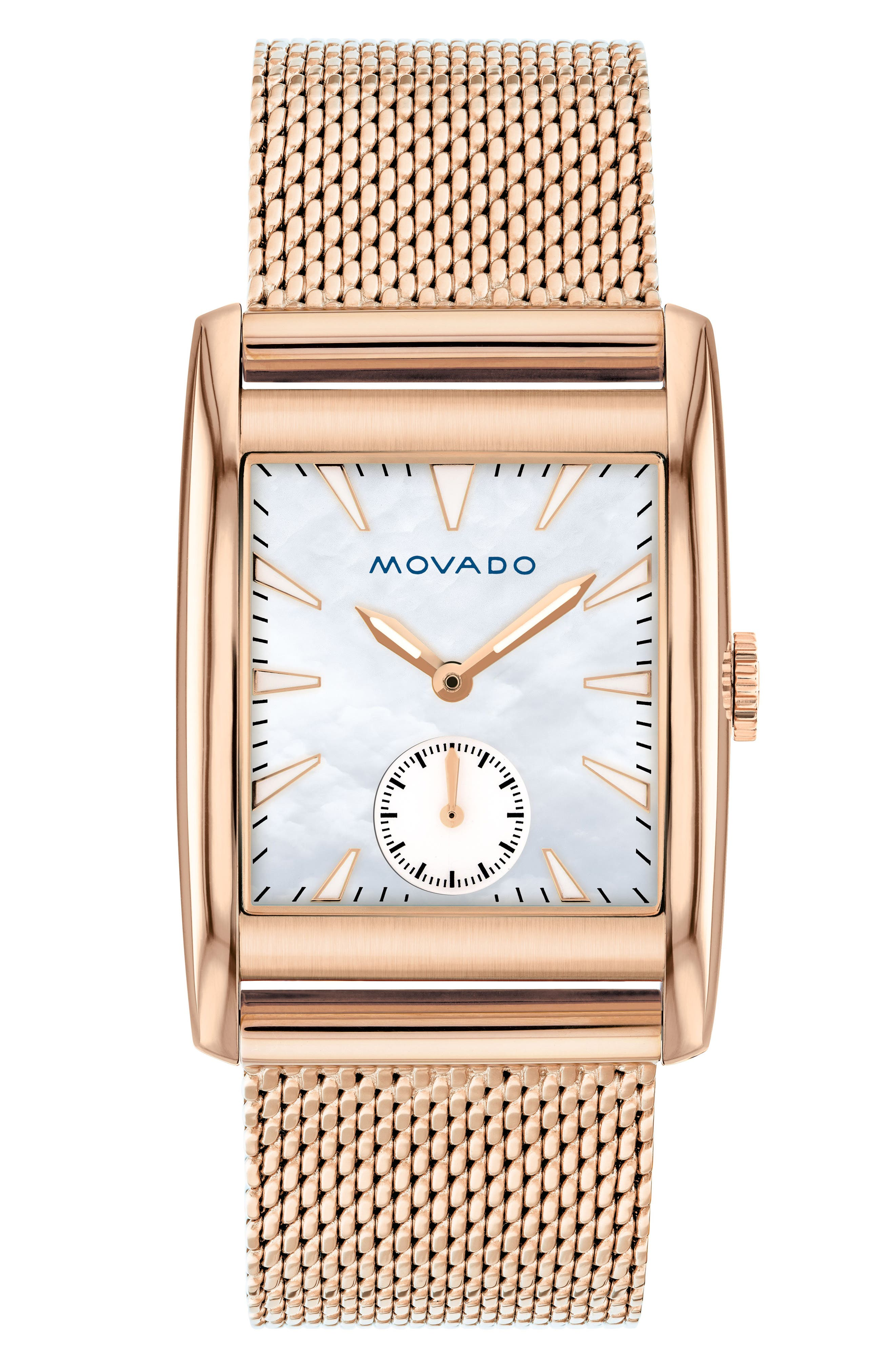 Heritage Mesh Strap Watch, 38mm,                         Main,                         color, ROSE GOLD/ MOP/ ROSE GOLD
