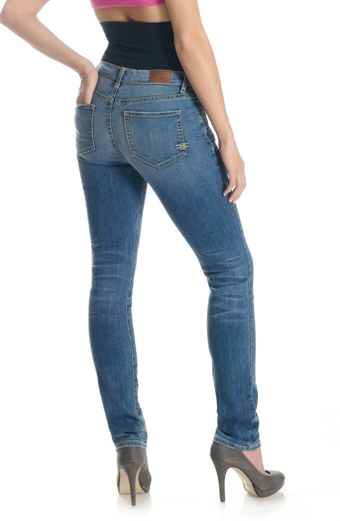 Mid Rise Straight LegShapewearJeans,                             Alternate thumbnail 4, color,                             400