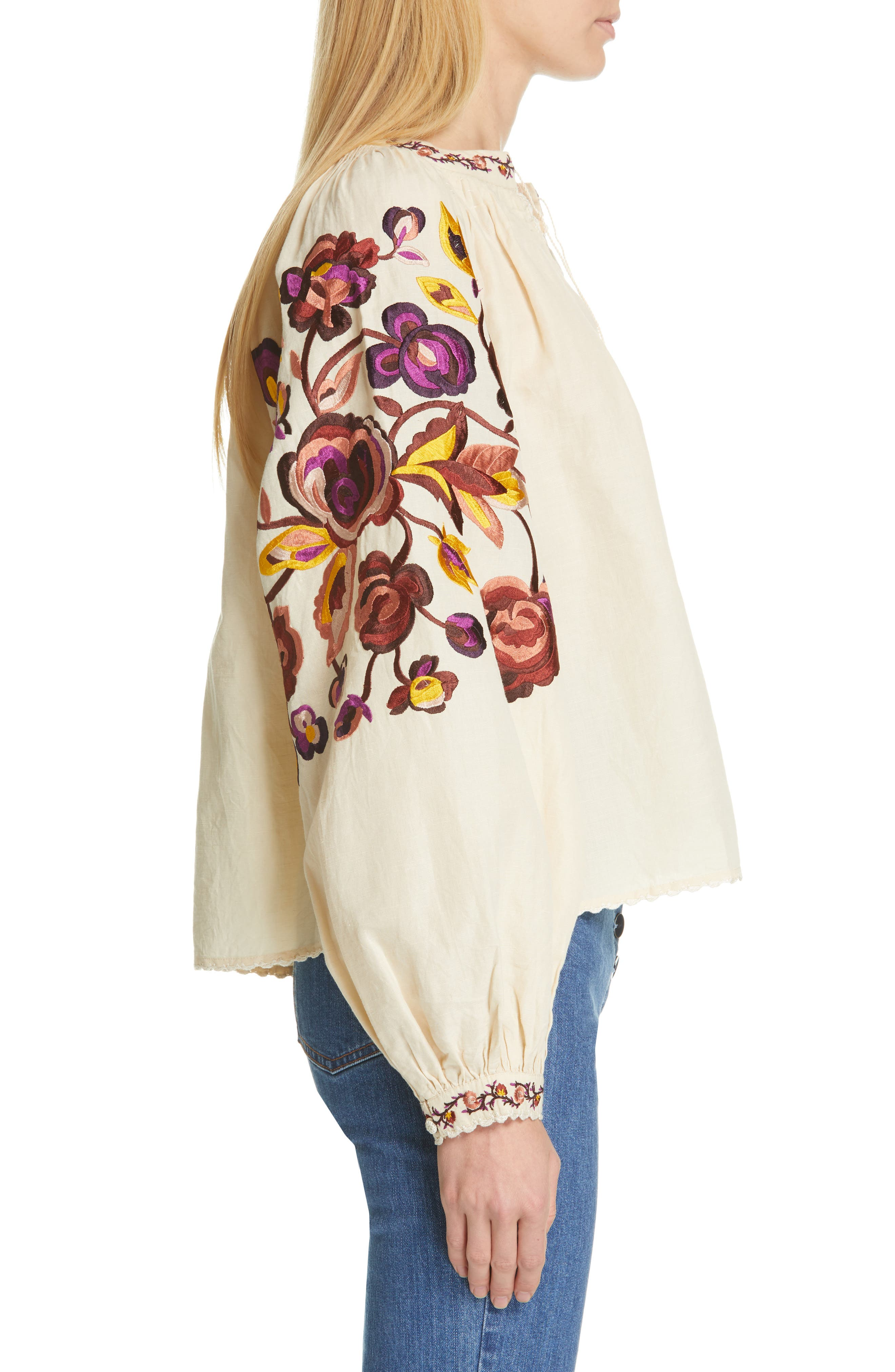 Simona Floral Embroidered Linen & Cotton Blouse,                             Alternate thumbnail 3, color,                             NATURAL