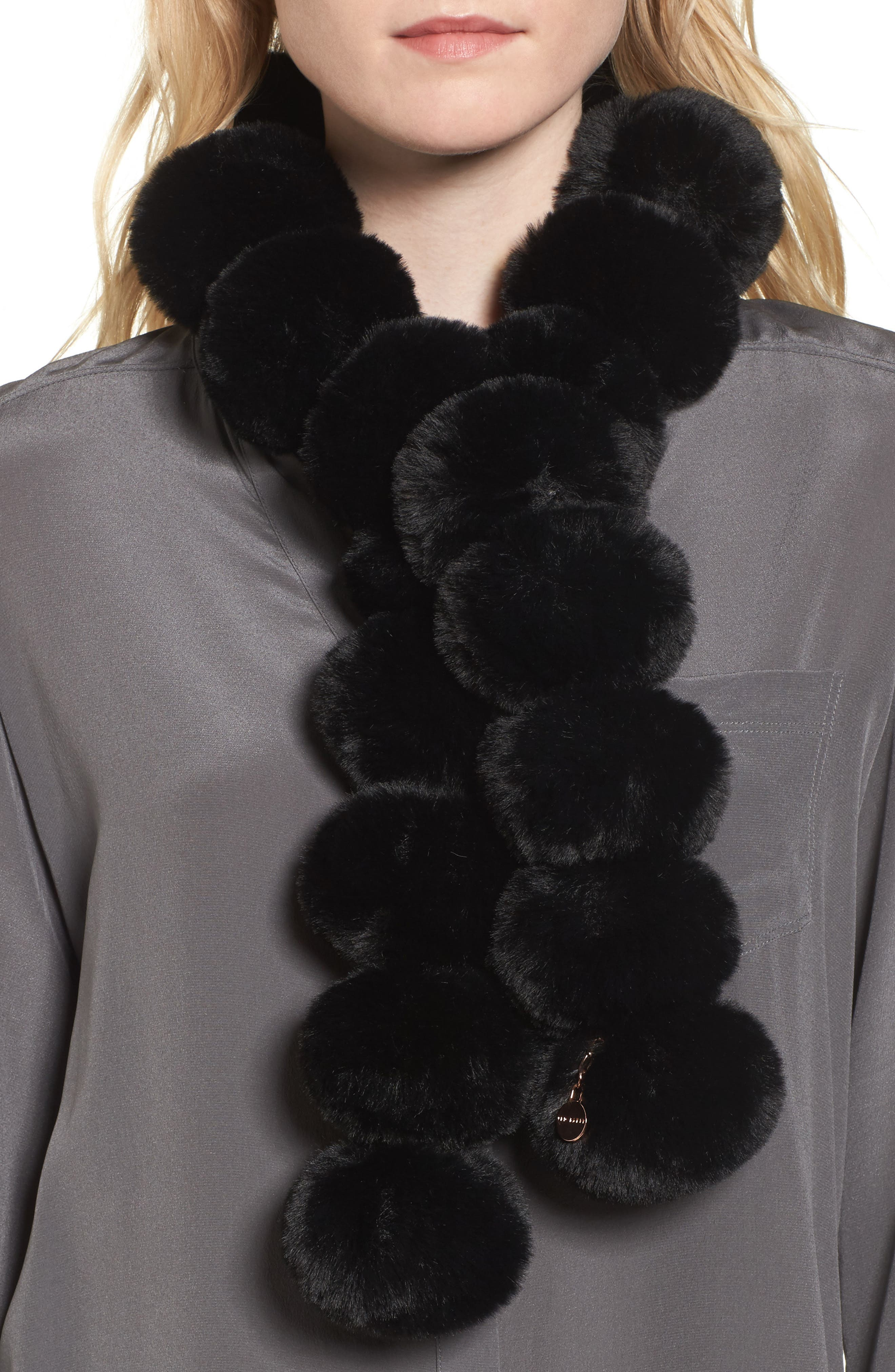 Faux Fur Pom Scarf,                             Main thumbnail 1, color,                             001