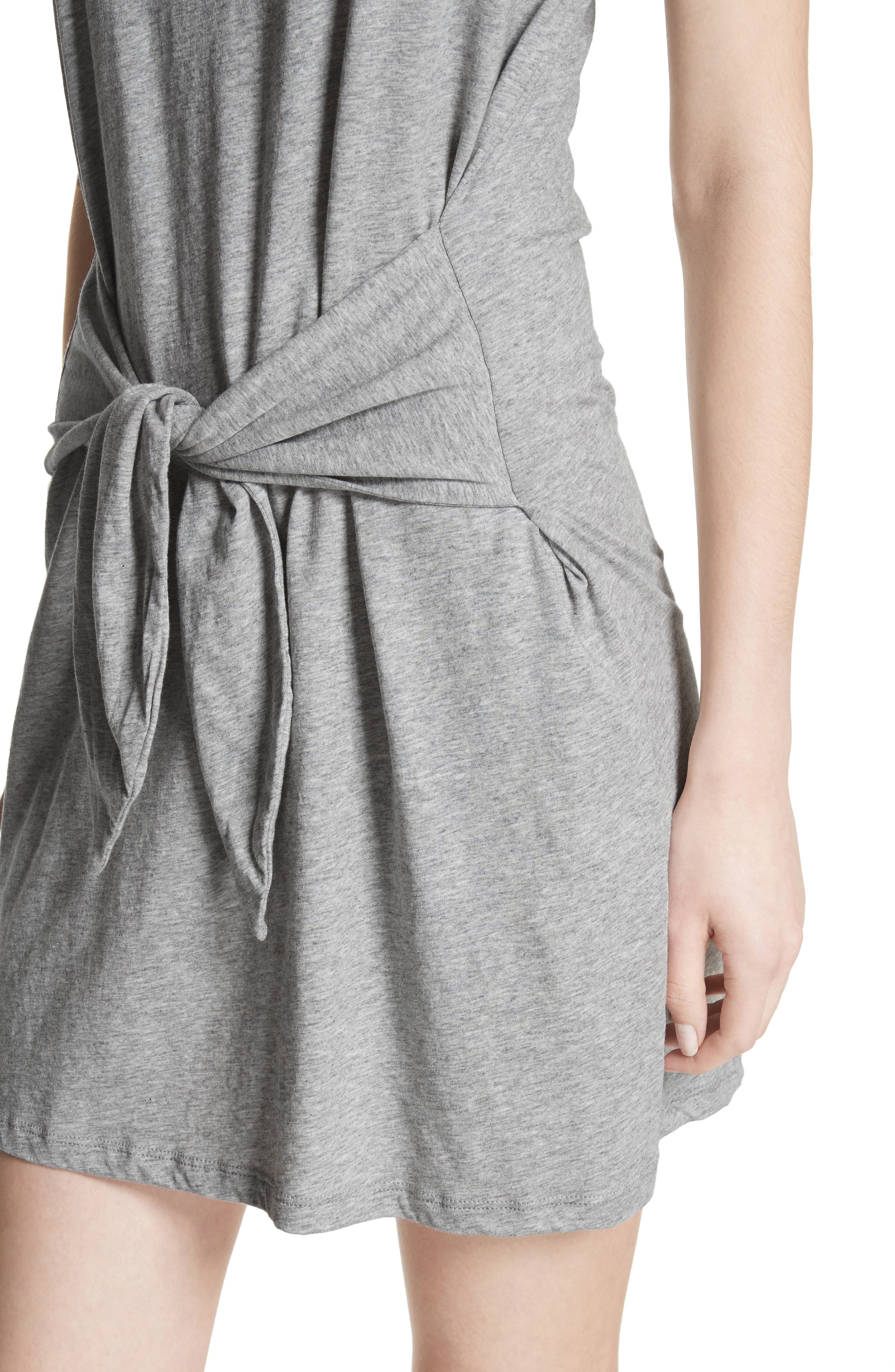 Alyra Tie Waist Cotton T-Shirt Dress,                             Alternate thumbnail 4, color,                             030