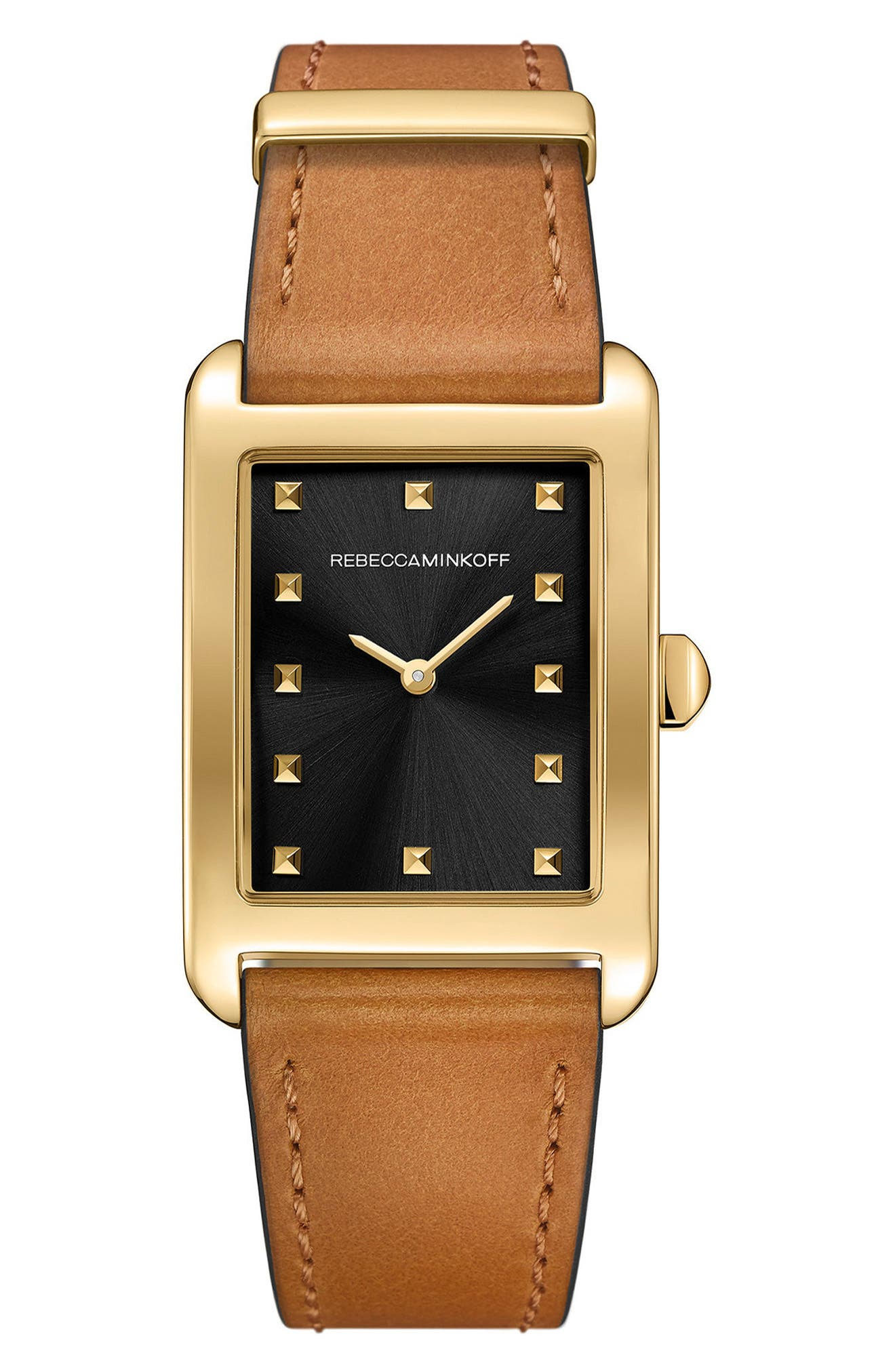 Moment Leather Strap Watch, 27mm x 39mm,                         Main,                         color, ALMOND/ BLACK/ GOLD