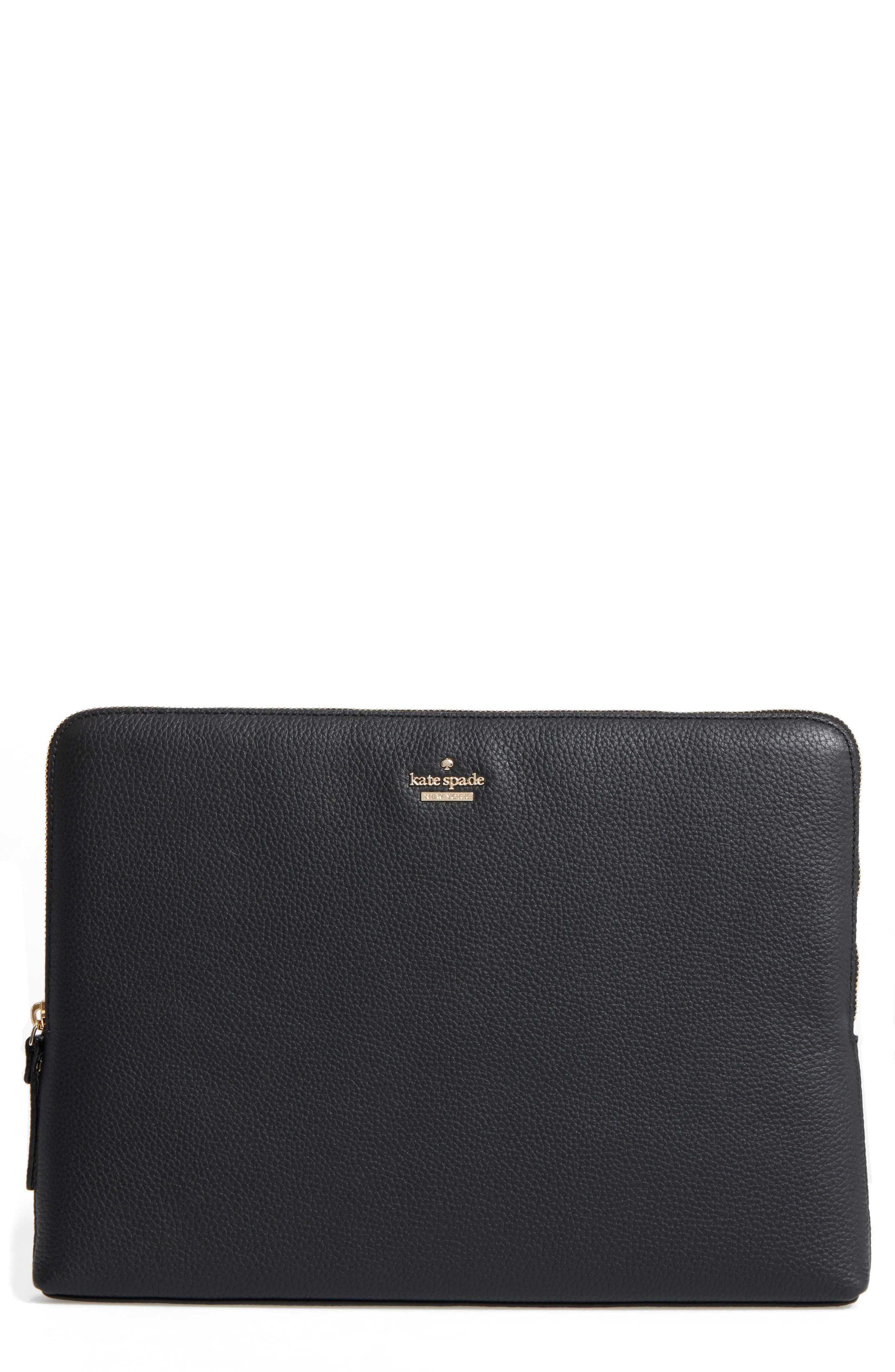 13-inch leather laptop sleeve,                             Main thumbnail 1, color,                             BLACK